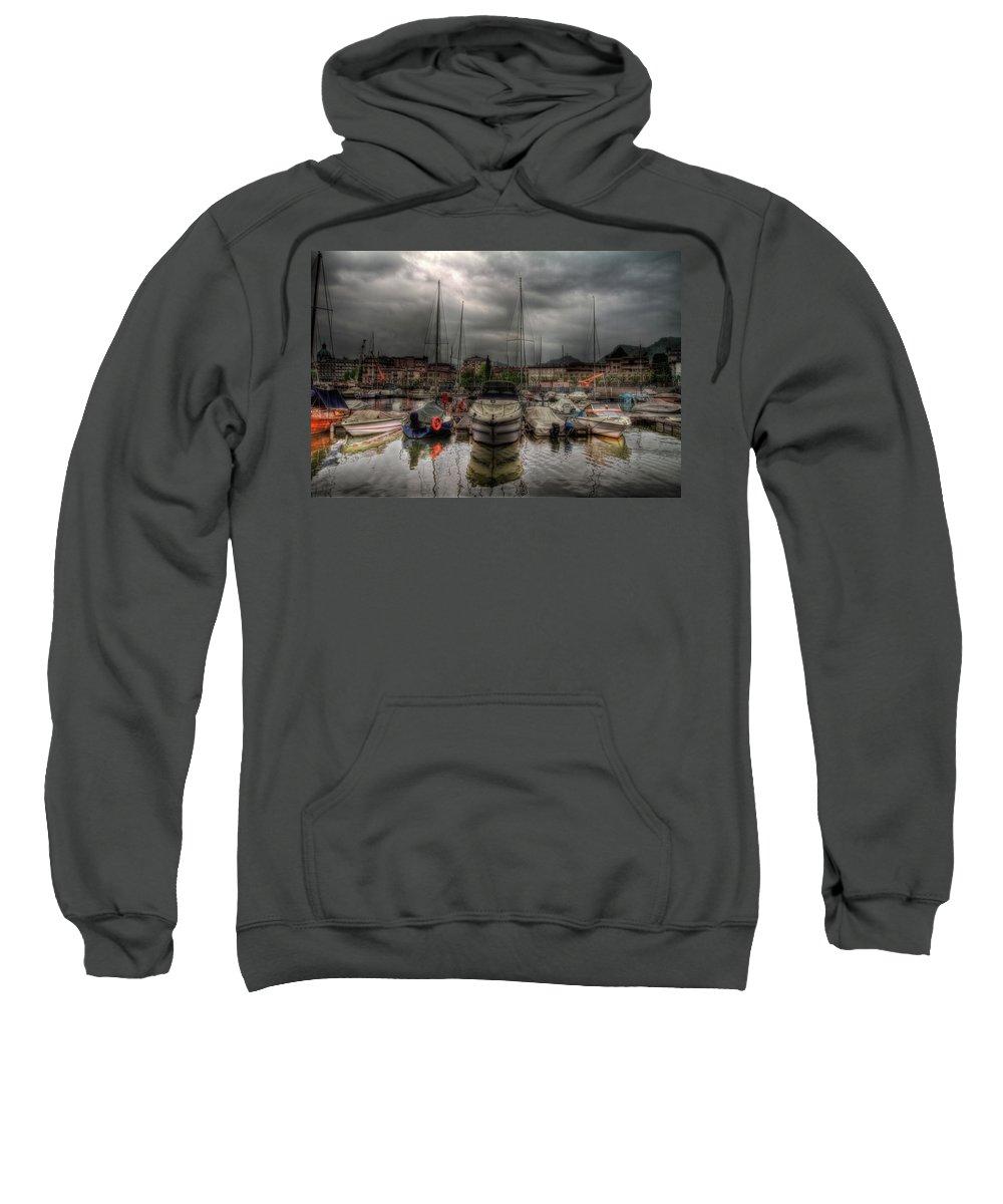 Boat Sweatshirt featuring the photograph Port At Como Lake by Roberto Pagani