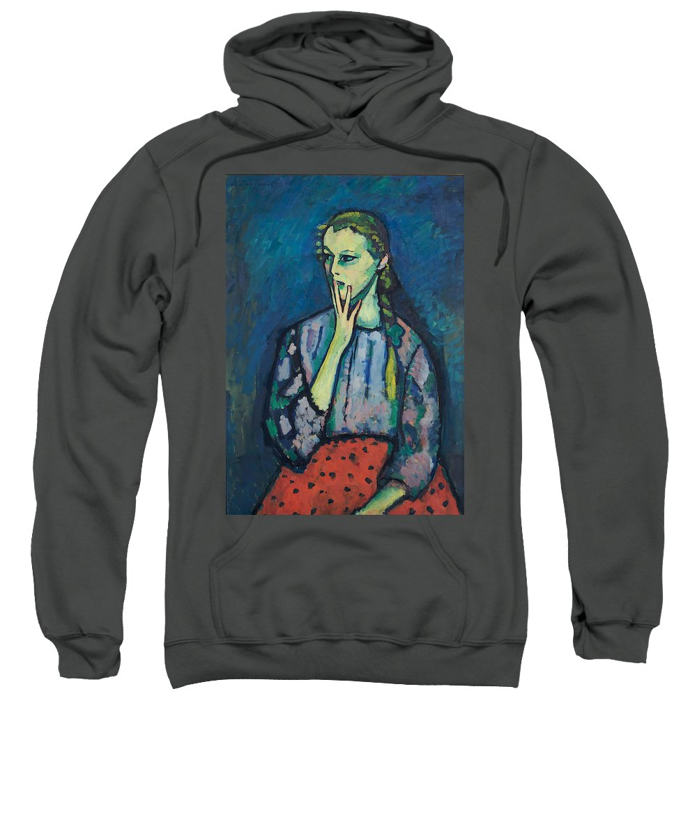 Painting Sweatshirt featuring the painting Portrait Of A Girl by Mountain Dreams