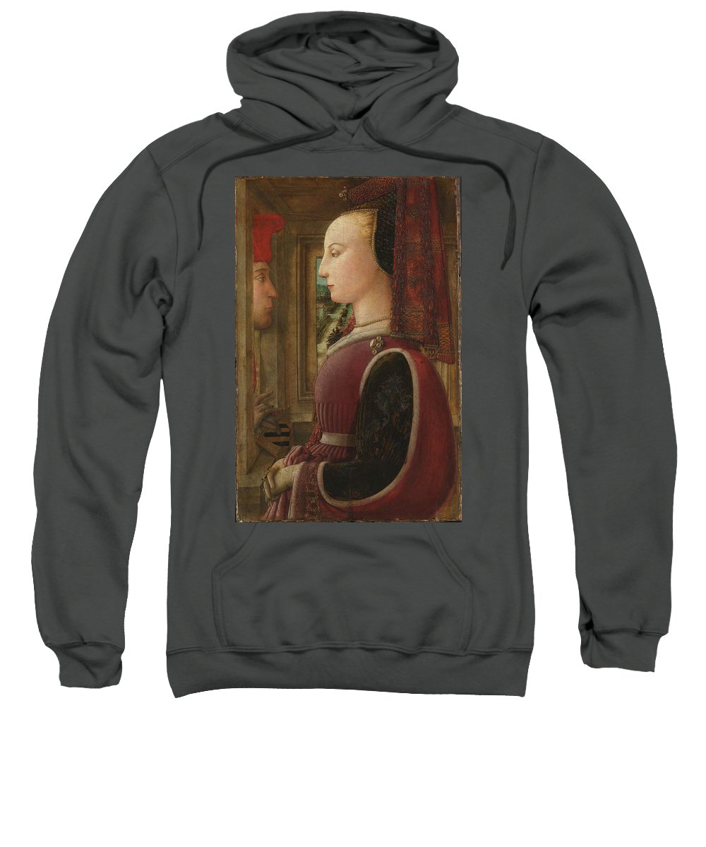 Fra Filippo Lippi Sweatshirt featuring the painting Portrait Of A Woman With A Man At A Casement by Fra Filippo Lippi