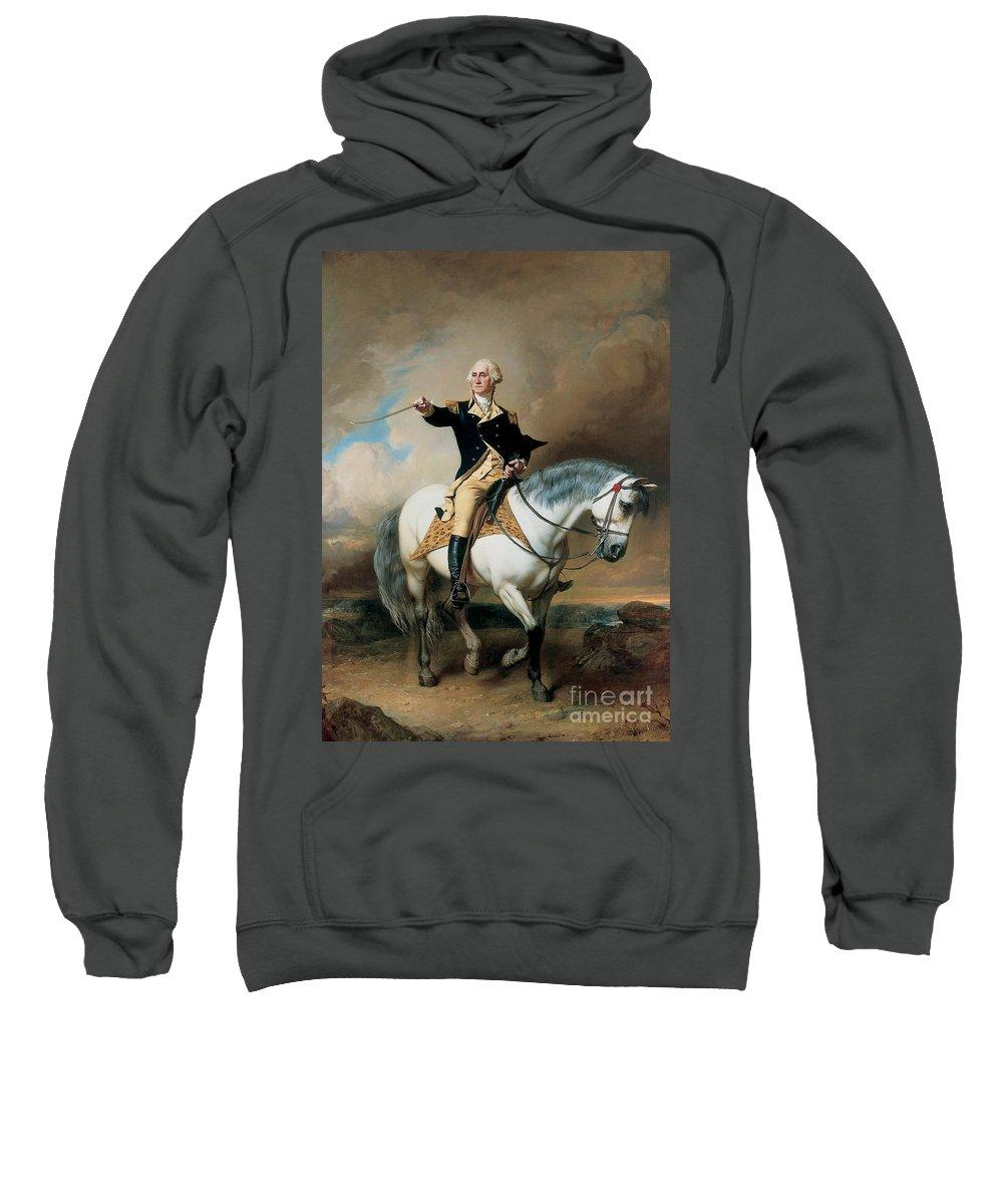 Portrait; War; Full Length; Equestrian; Salute; Saluting; Trenton; History; Historical; Heroic; Horse; Mounted; Horseback; Riding; Commander; Independence; President; Politician; Statesman; Us; Usa; United States; America; American; Leader; George Washington; Landscape; Sword; Uniform; Uniformed; Dramatic; Leadership; Strength; Power; 18th Sweatshirt featuring the painting Portrait Of George Washington Taking The Salute At Trenton by John Faed