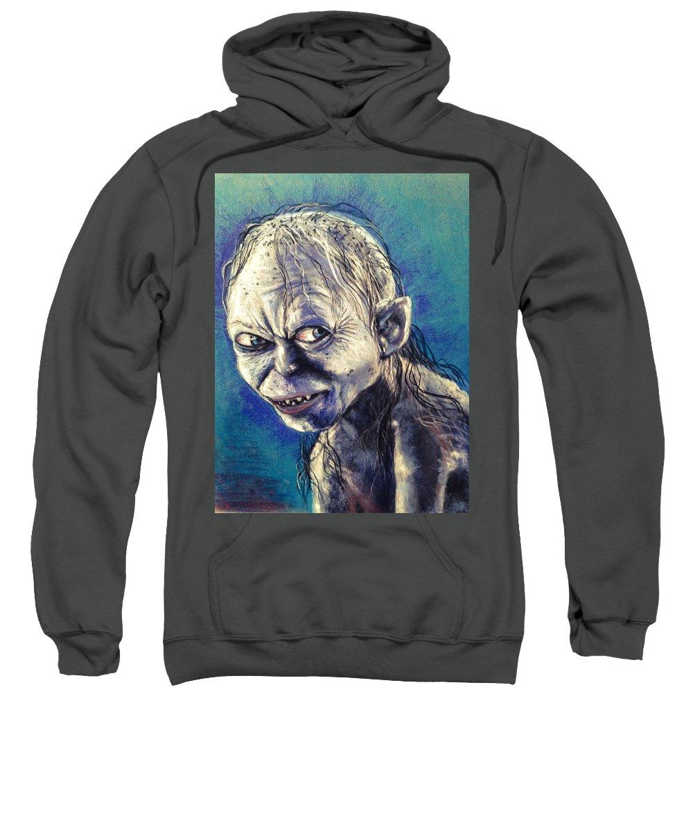 Gollum Sweatshirt featuring the pastel Portrait Of Gollum by Alban Dizdari