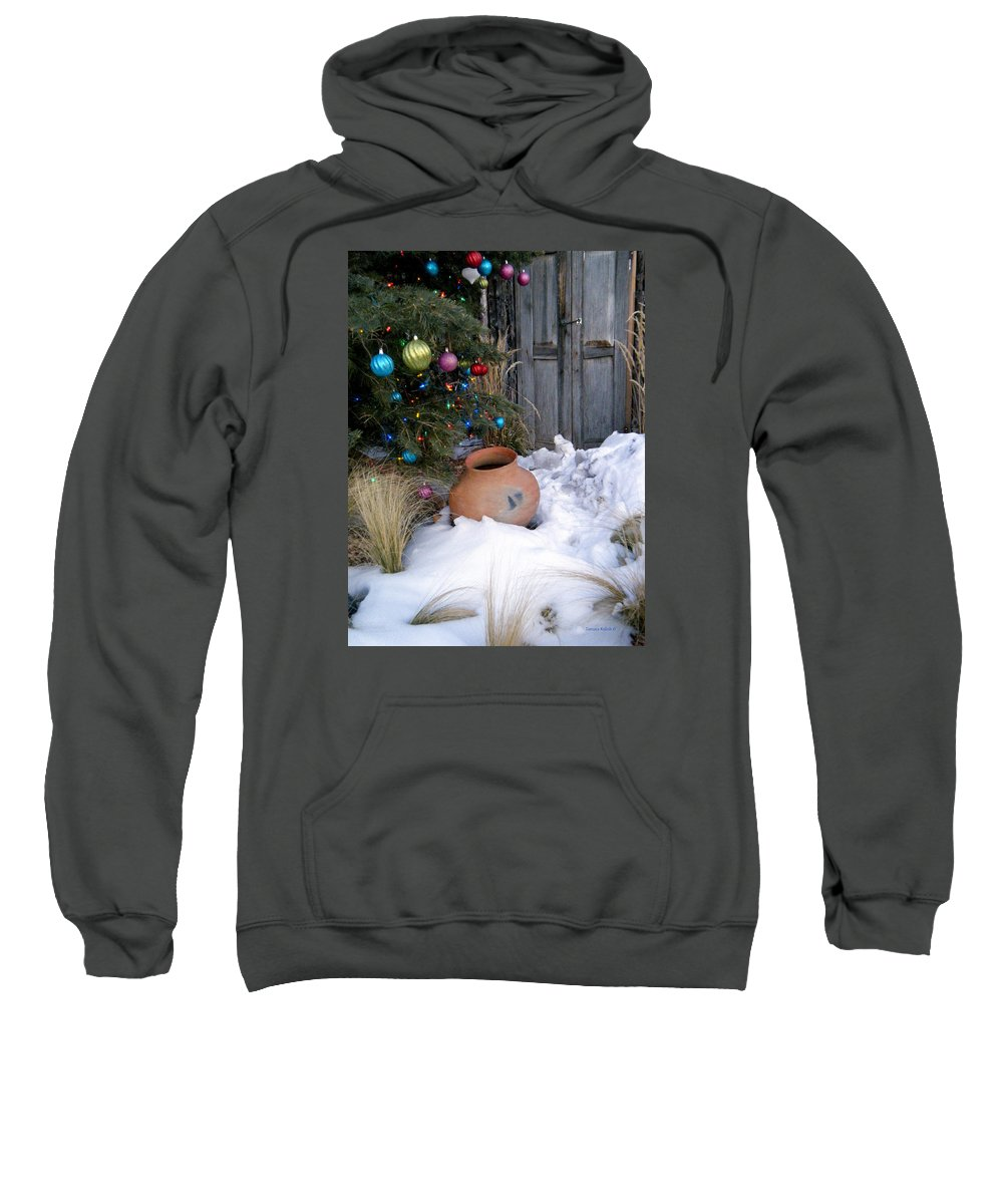 Pottery Sweatshirt featuring the photograph Pottery In Snow At Xmas by Tamara Kulish