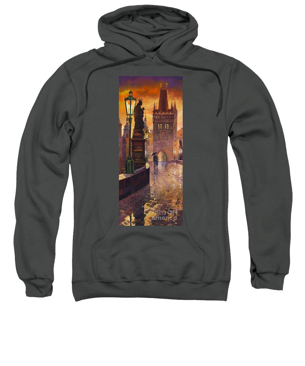 Prague Sweatshirt featuring the painting Prague Charles Bridge 01 by Yuriy Shevchuk