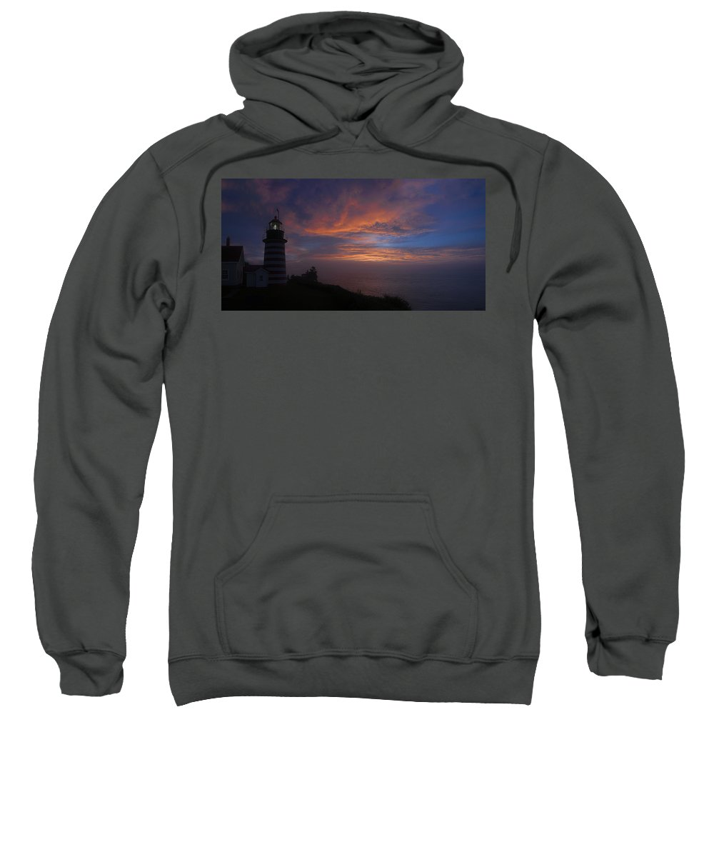 Lighthouse Sweatshirt featuring the photograph Pre Dawn Lighthouse Sentinal by Marty Saccone