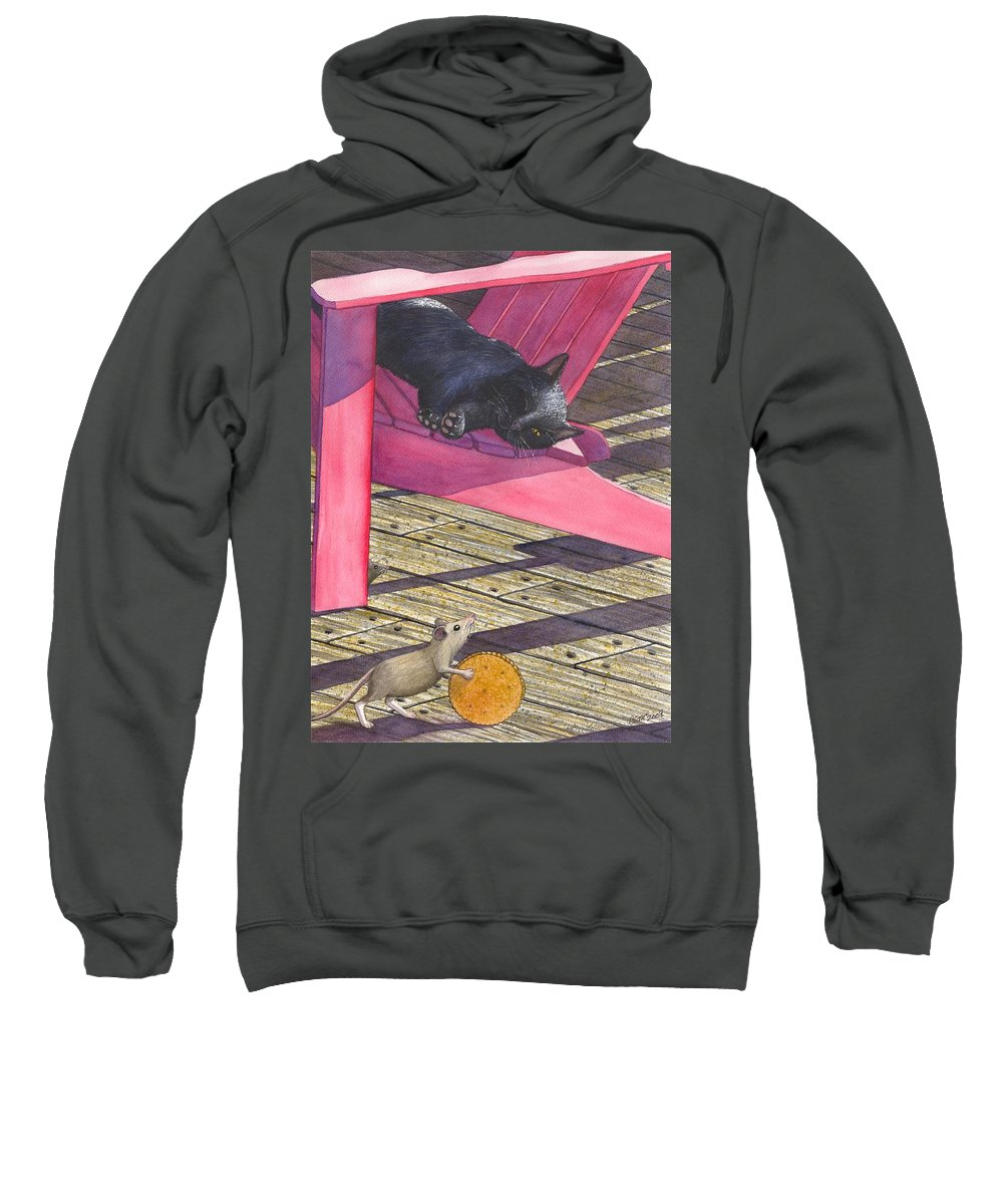 Cat Sweatshirt featuring the painting Precarious by Catherine G McElroy