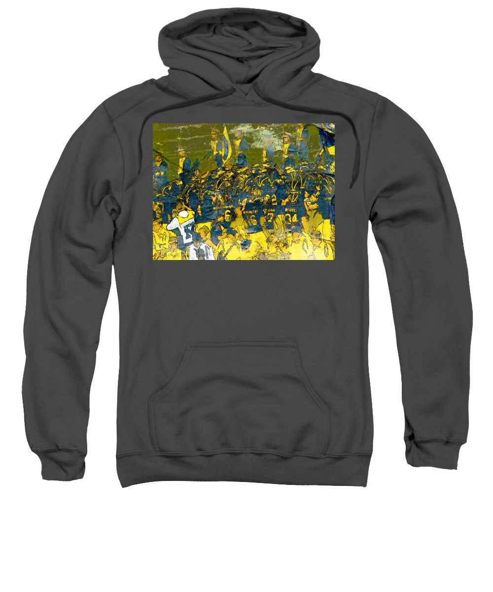 University Of Michigan Sweatshirt featuring the painting Pregame High Energy by John Farr