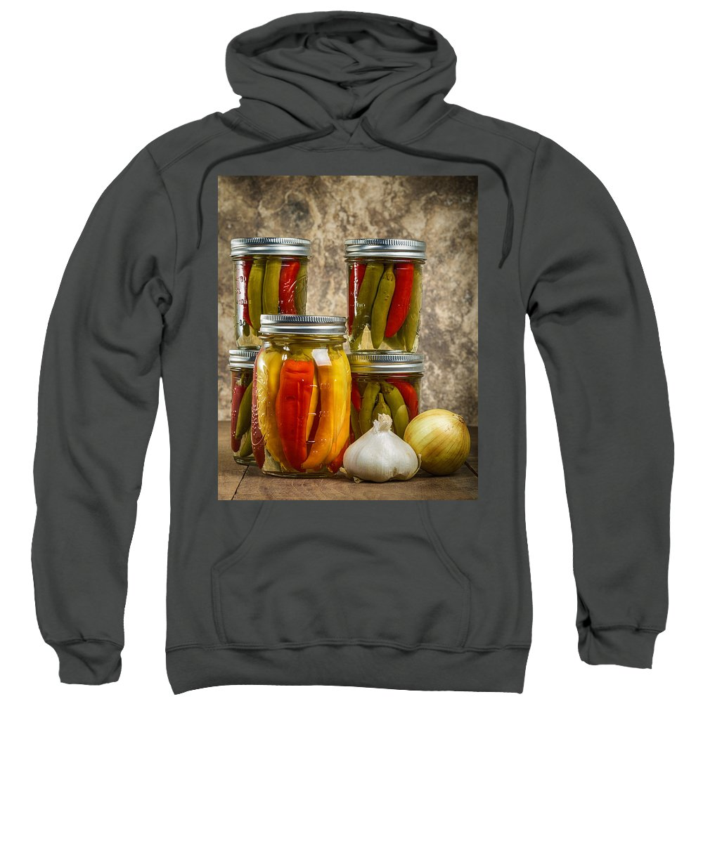 Art Sweatshirt featuring the photograph Preserved Peppers by John Trax