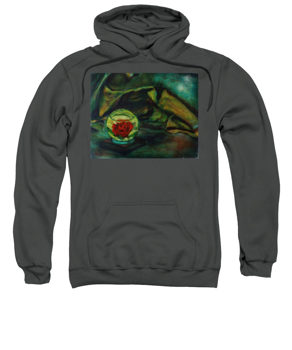 Still Life Sweatshirt featuring the painting Preserved Rose . . Draped Canvas by Sean Connolly