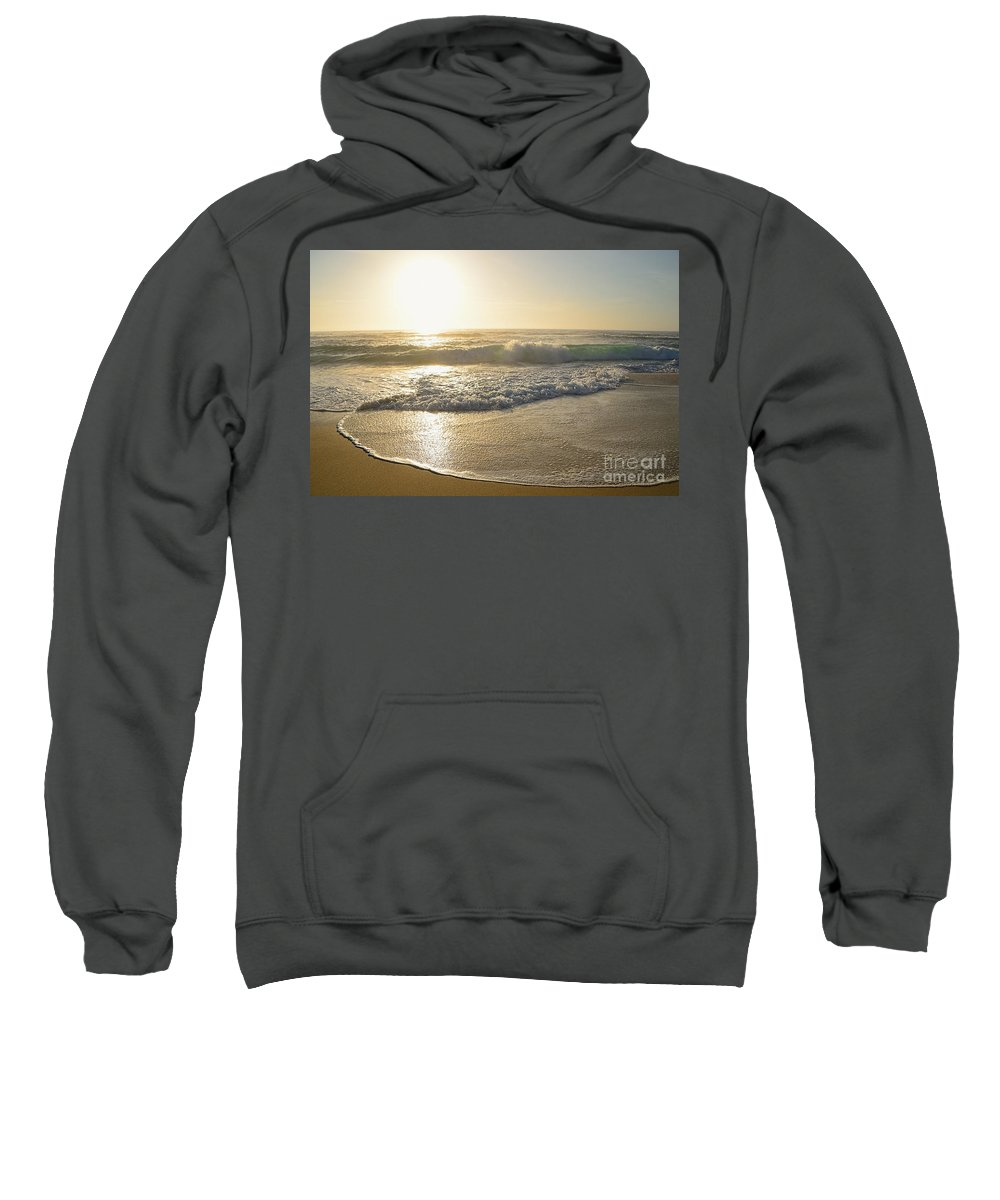 Photography Sweatshirt featuring the photograph Pretty Waves At Glowing Sunrise By Kaye Menner by Kaye Menner