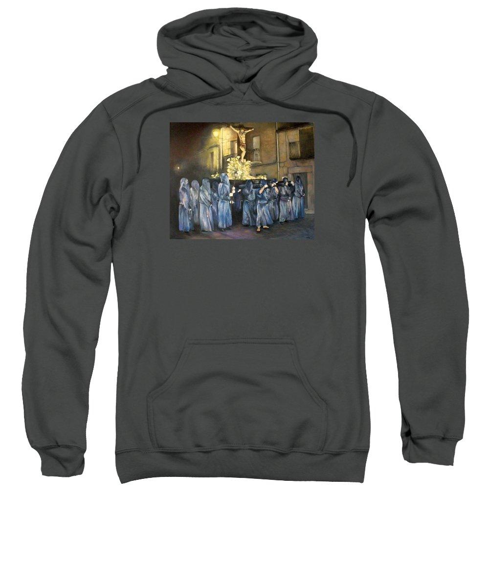 Procesion Del Cristo De La Agonia En Fermoselle Sweatshirt featuring the painting Procesion del Cristo de la Agonia by Tomas Castano
