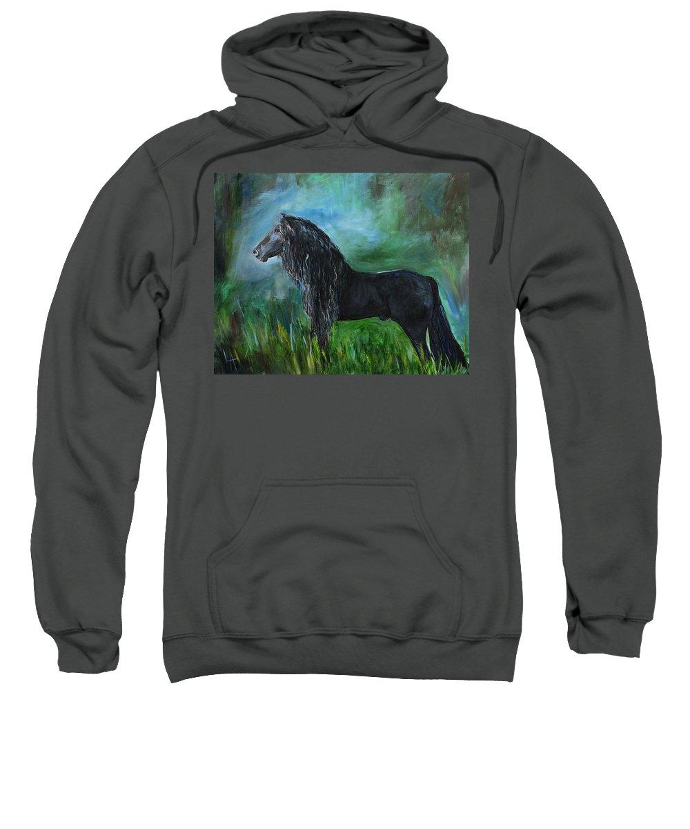 Friesian Sweatshirt featuring the painting Proud Friesian by Leslie Allen