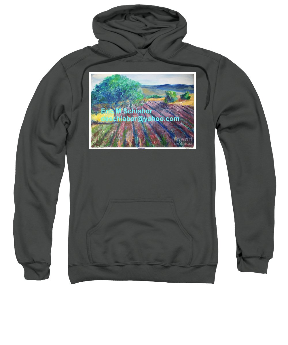 The Actor Sweatshirt featuring the painting Provence Lavender Field by Eric Schiabor