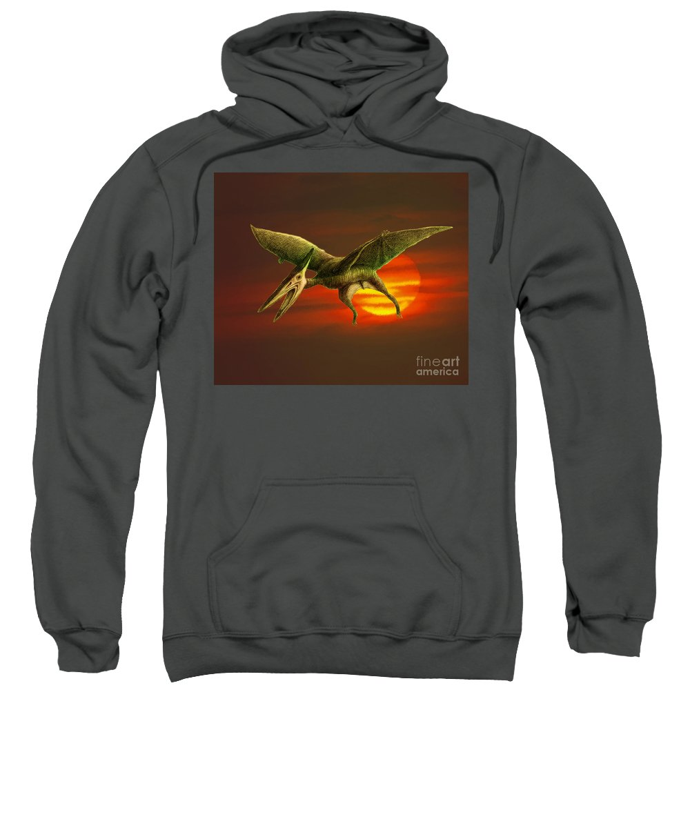 Dinosaur Sweatshirt featuring the photograph Pterodactyl by Spencer Sutton