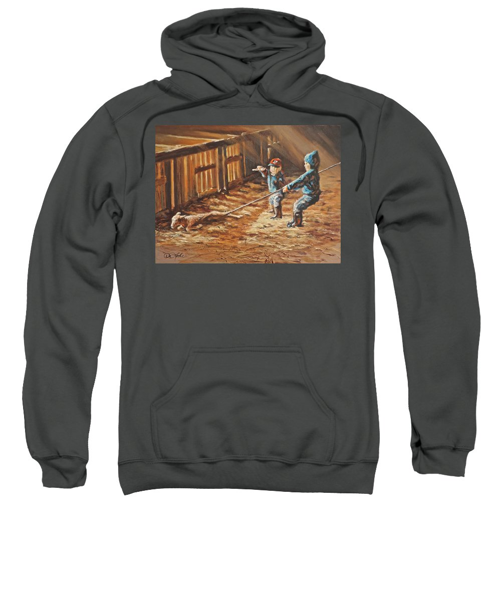 Sheep Sweatshirt featuring the painting Pulling Your Weight by Mia DeLode
