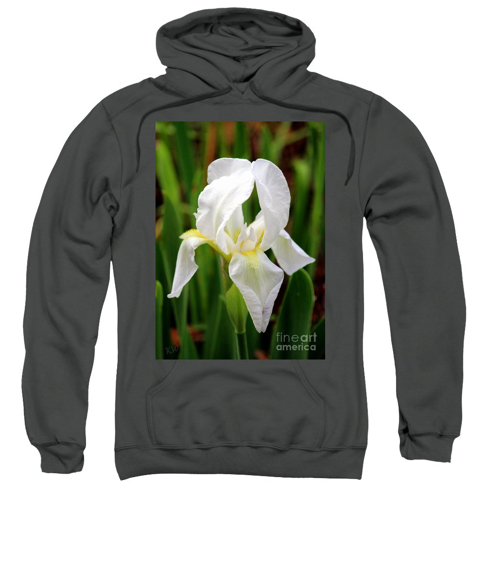 Purely White Ris Sweatshirt featuring the photograph Purely White Iris by Kathy White