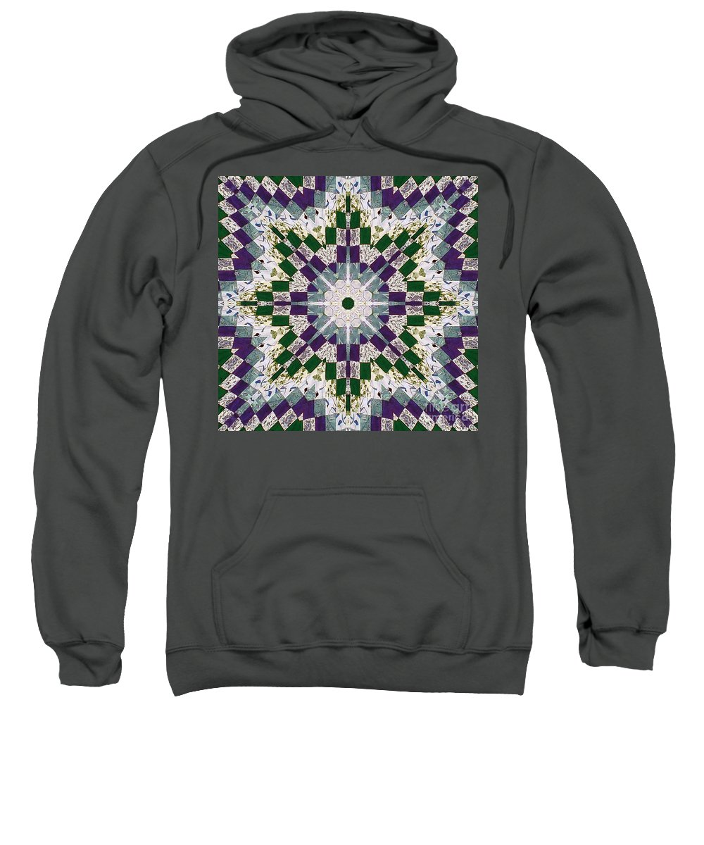 Patchwork Sweatshirt featuring the photograph Purple And Green Patchwork Art by Barbara Griffin