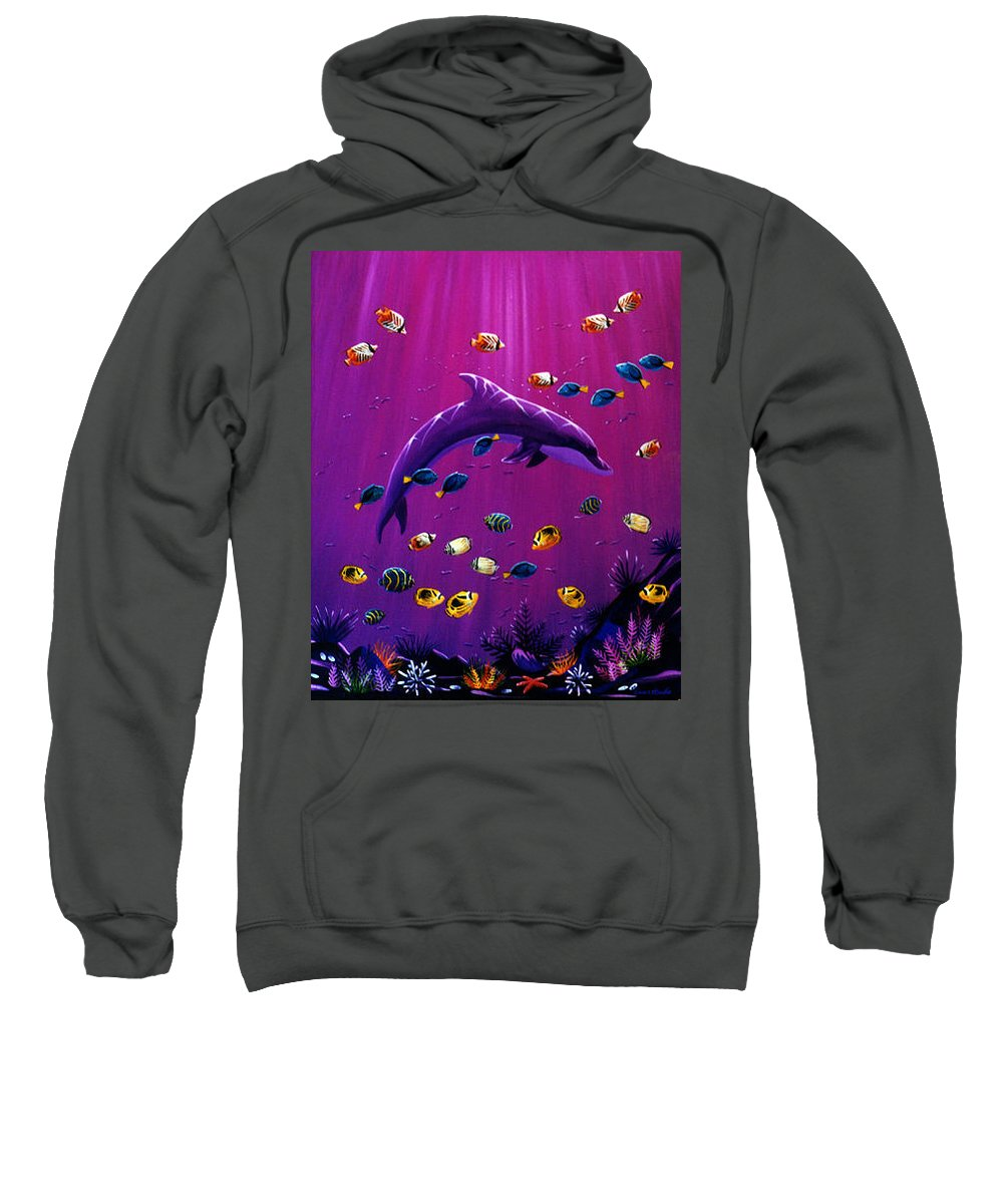 Purple Sweatshirt featuring the painting Purple Dolpins by Lance Headlee
