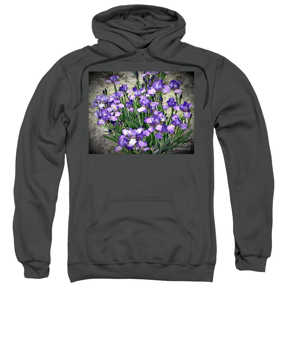 Iris Sweatshirt featuring the photograph Purple Irises by The Art of Alice Terrill