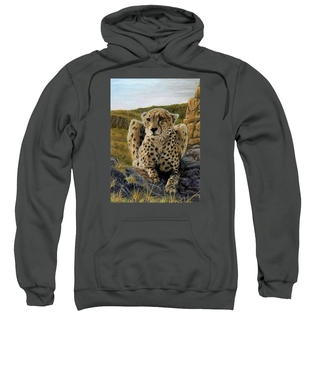Jaguar Sweatshirt featuring the painting Purrfect View by Sherryl Lapping