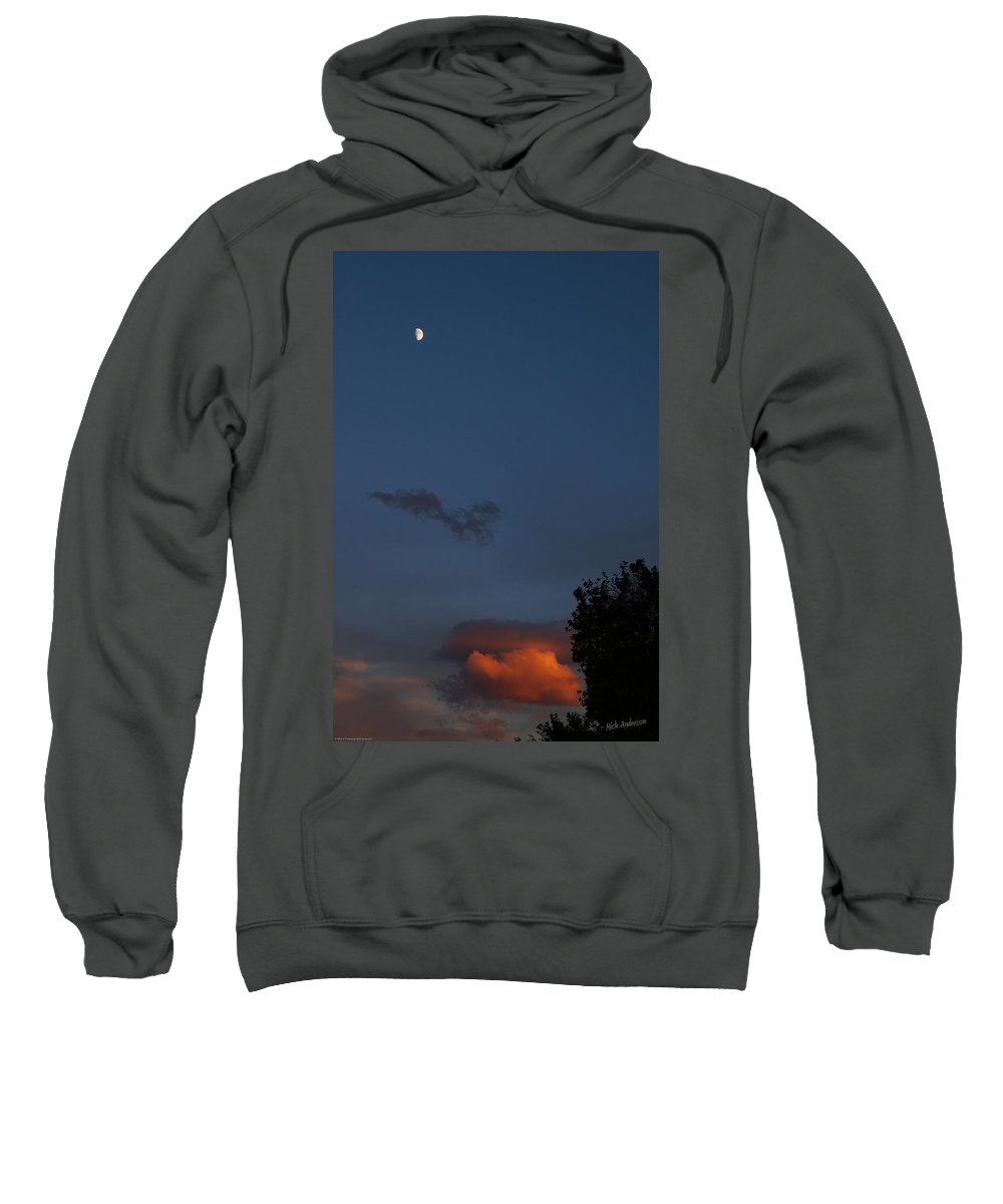 Quarter Moon Sweatshirt featuring the photograph Quarter Moon Over Evening Cloud by Mick Anderson