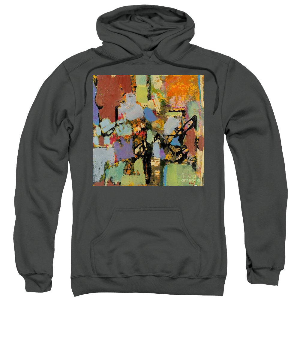 Landscape Sweatshirt featuring the painting Quick Racing by Allan P Friedlander