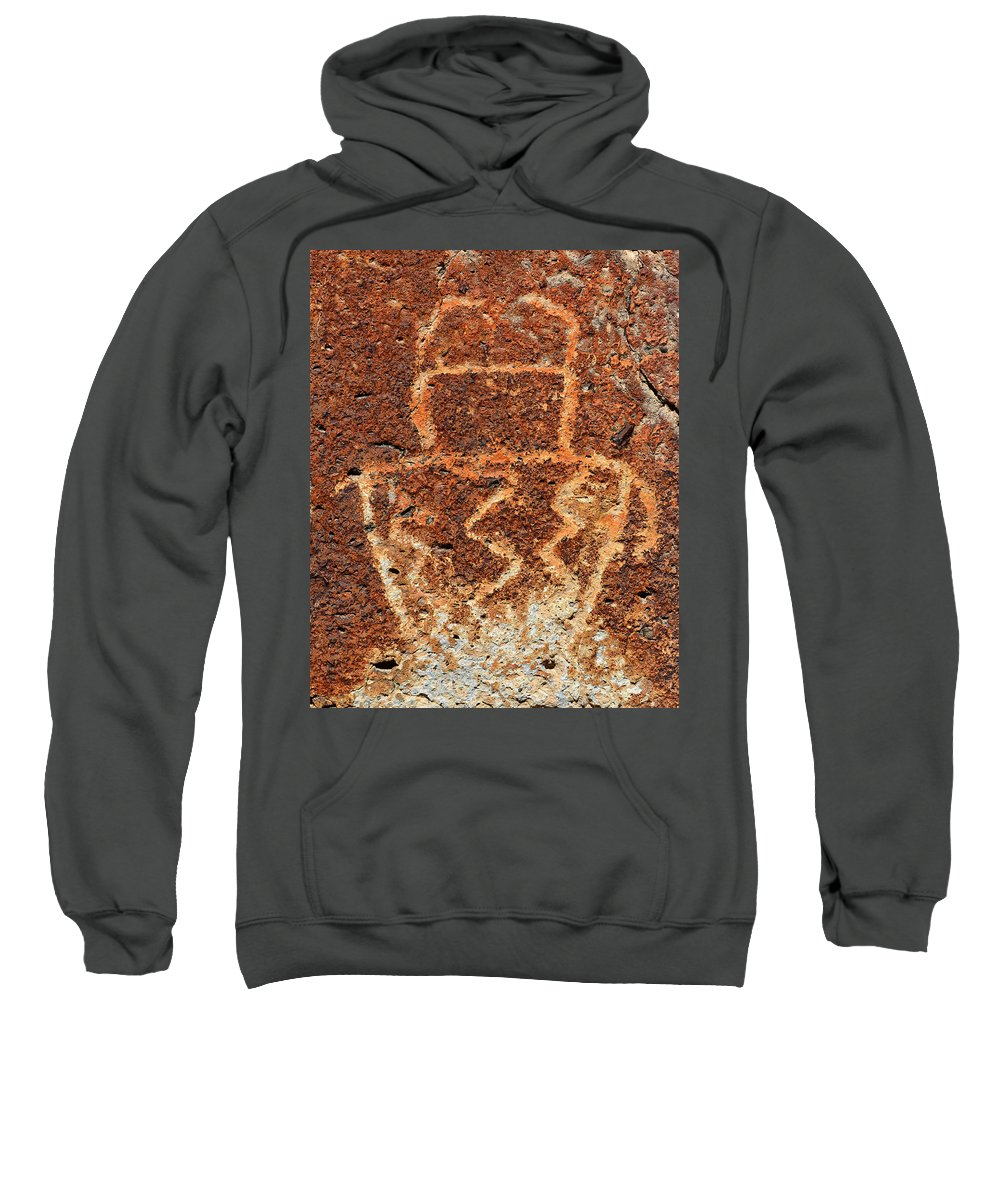 Shaman Sweatshirt featuring the photograph Shaman Petroglyph C by David Lee Thompson
