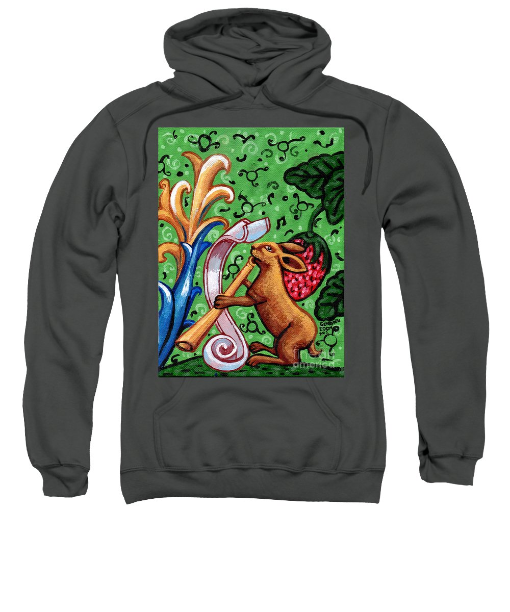 Rabbit Sweatshirt featuring the painting Rabbit Plays The Flute by Genevieve Esson