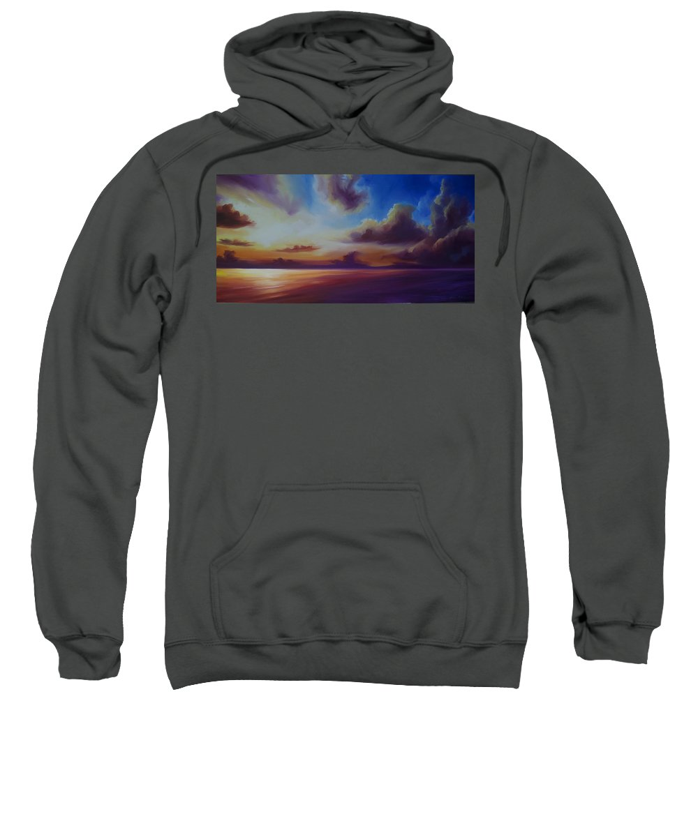 Sunrise Sweatshirt featuring the painting Radiant Skyburst by James Christopher Hill