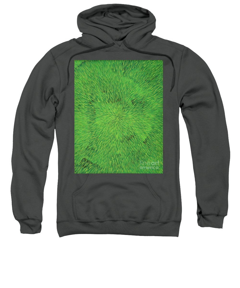 Abstract Sweatshirt featuring the painting Radiation Green by Dean Triolo