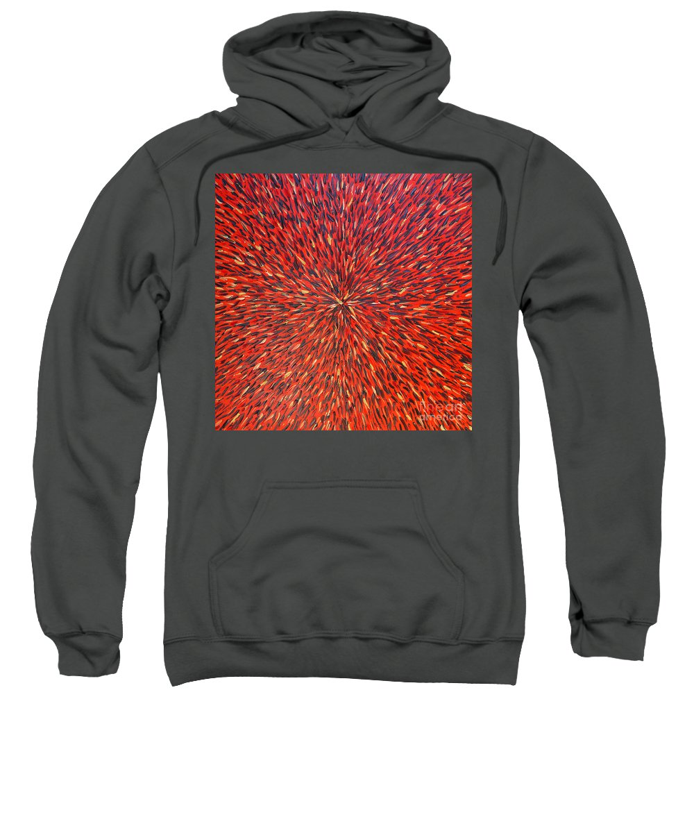Abstract Sweatshirt featuring the painting Radiation Red by Dean Triolo