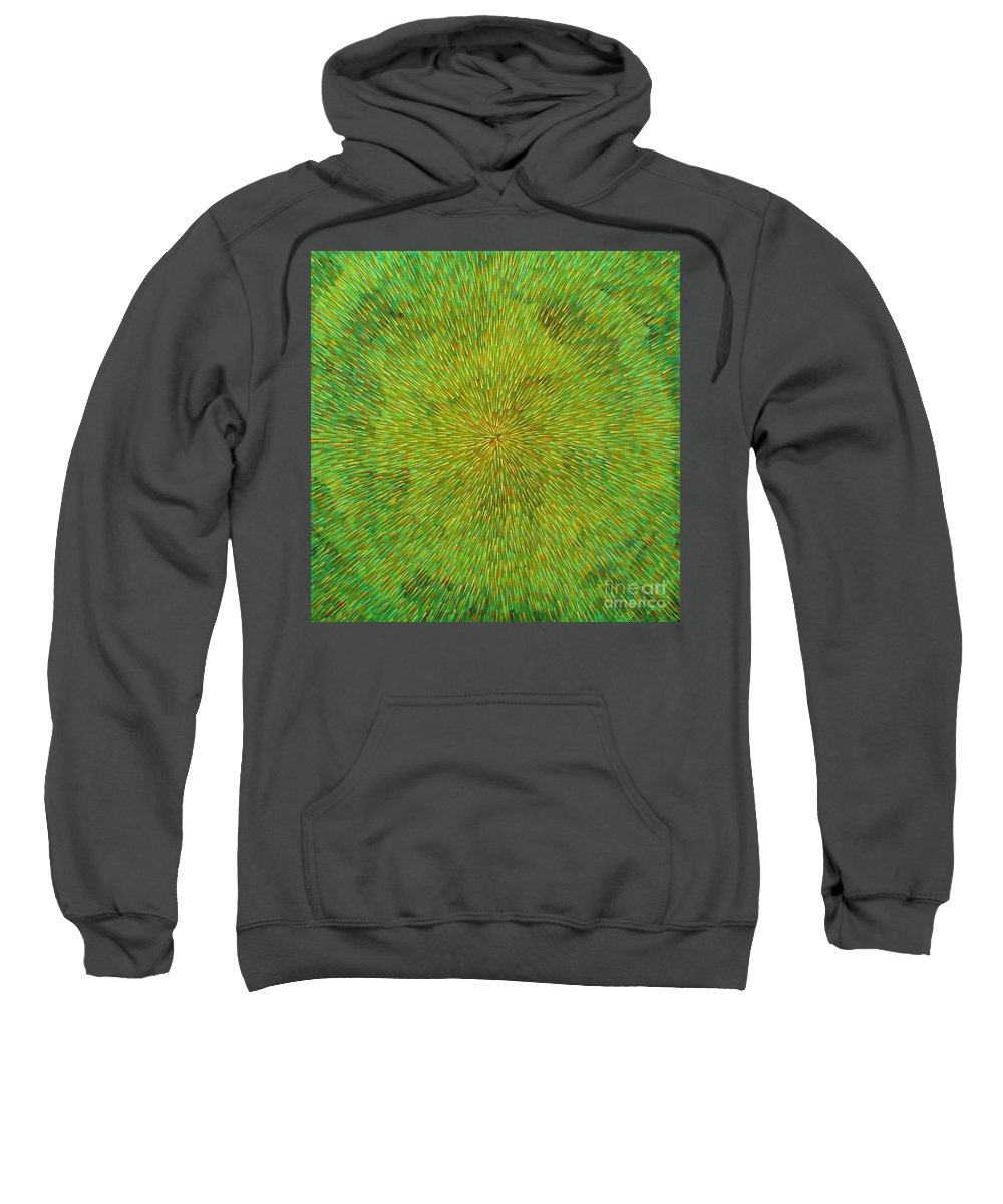 Abstract Sweatshirt featuring the painting Radiation with Green Yellow and Orange by Dean Triolo