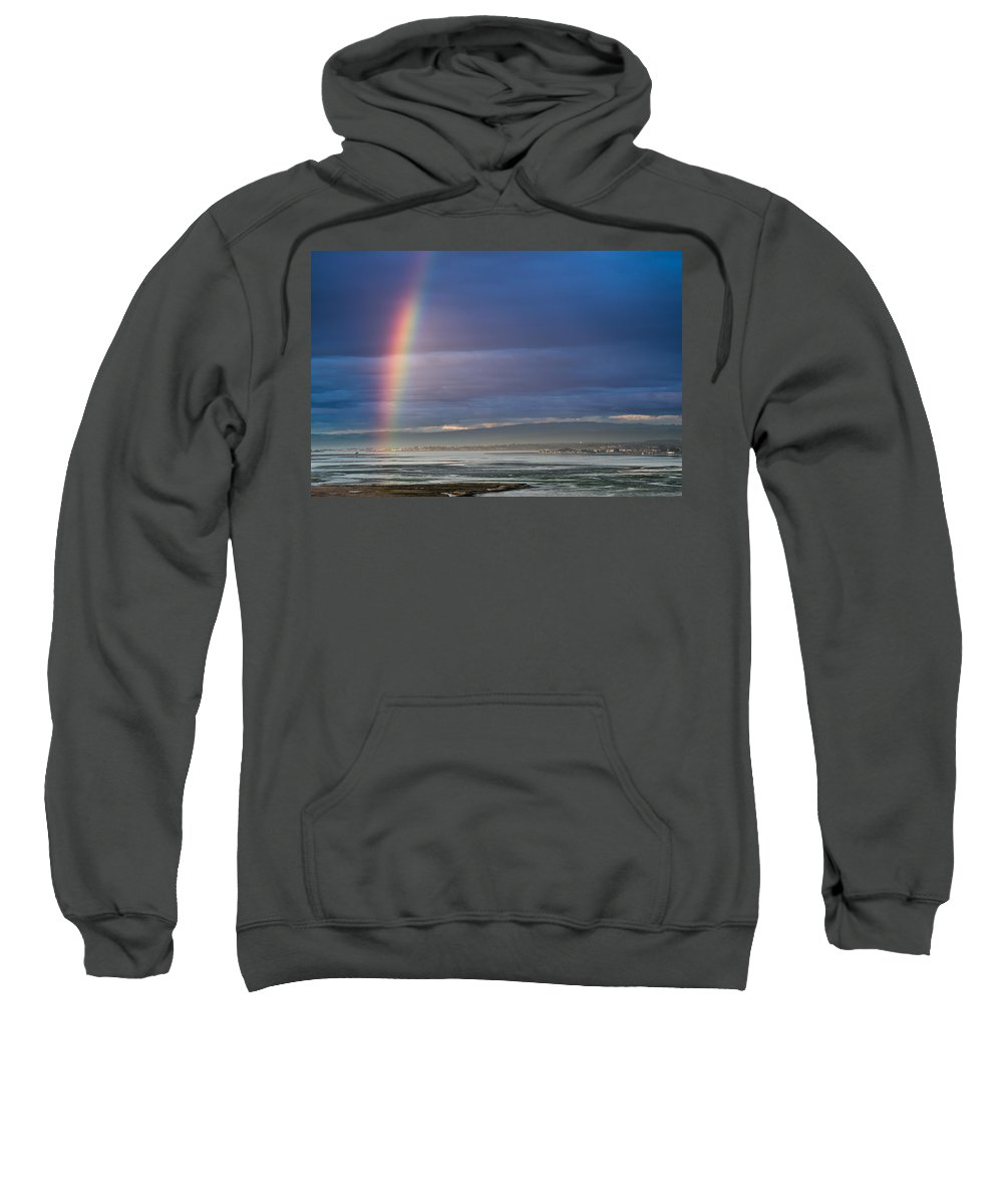 Humboldt Bay Sweatshirt featuring the photograph Rainbow Above The Bay by Greg Nyquist