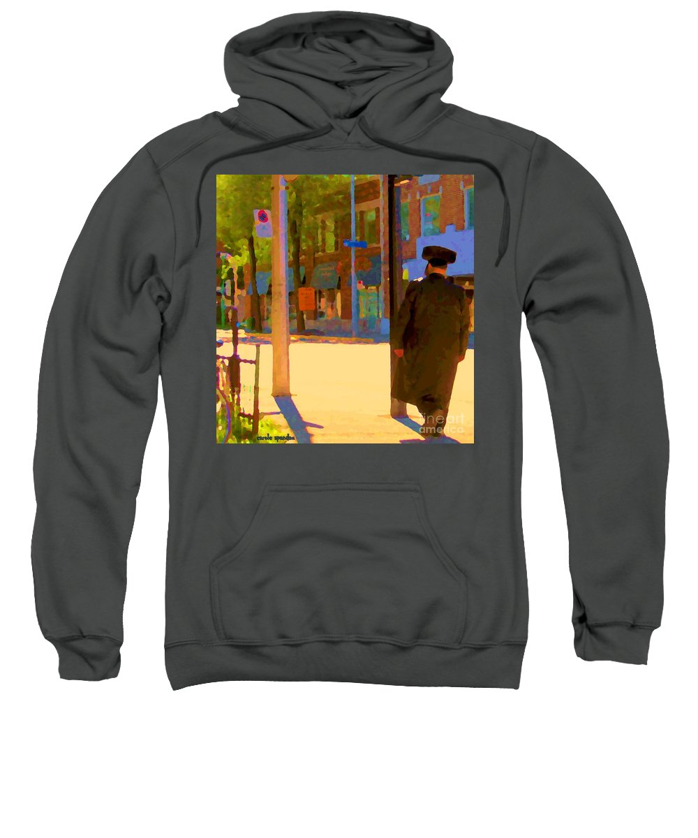 Montreal Sweatshirt featuring the painting Ramacieri Soligo Building Supplies Rue Van Horne Outremont Montreal Street Scene Art Carole Spandau by Carole Spandau