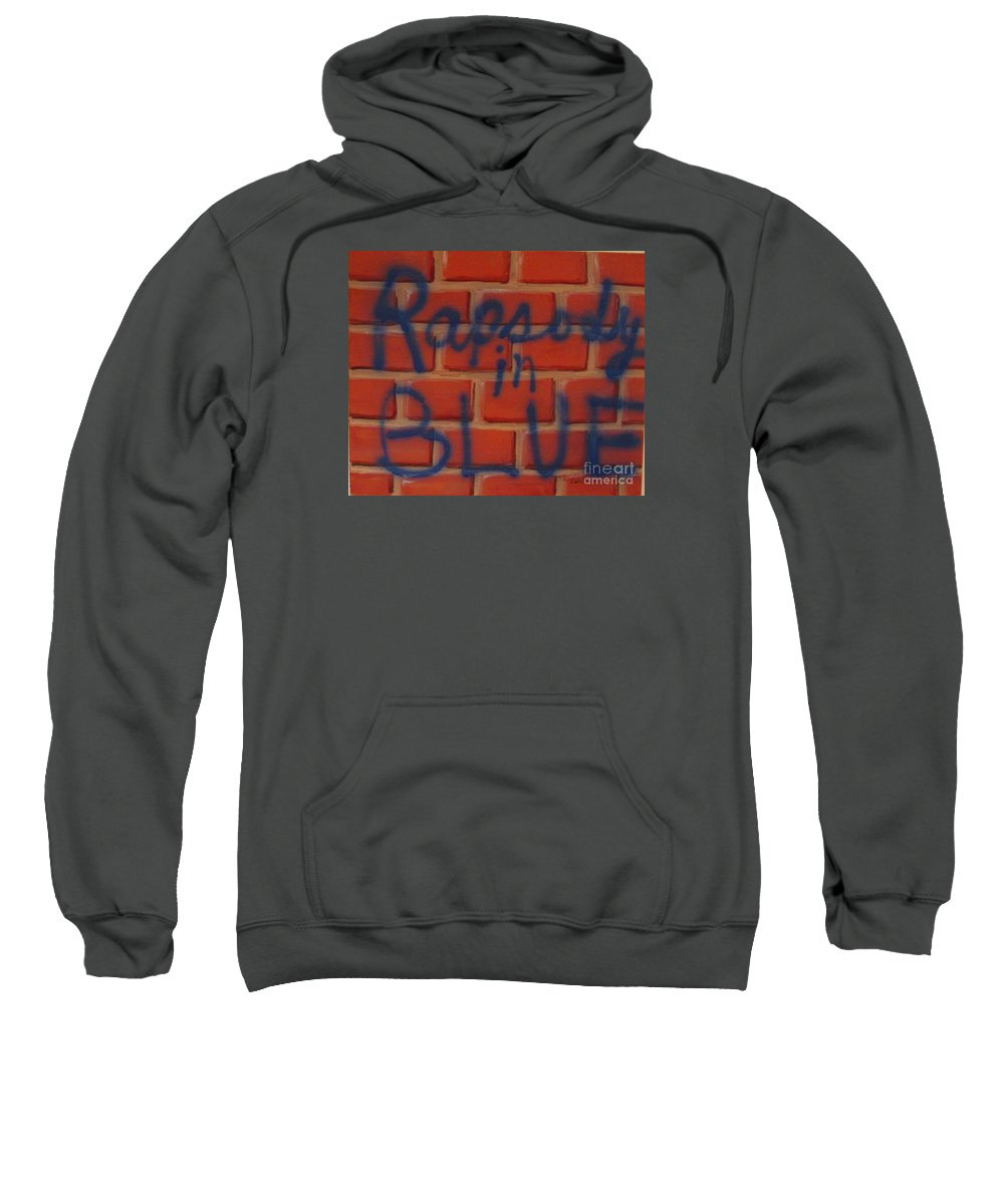 Abstract Sweatshirt featuring the painting Rapsody In Blue by Laurie Morgan