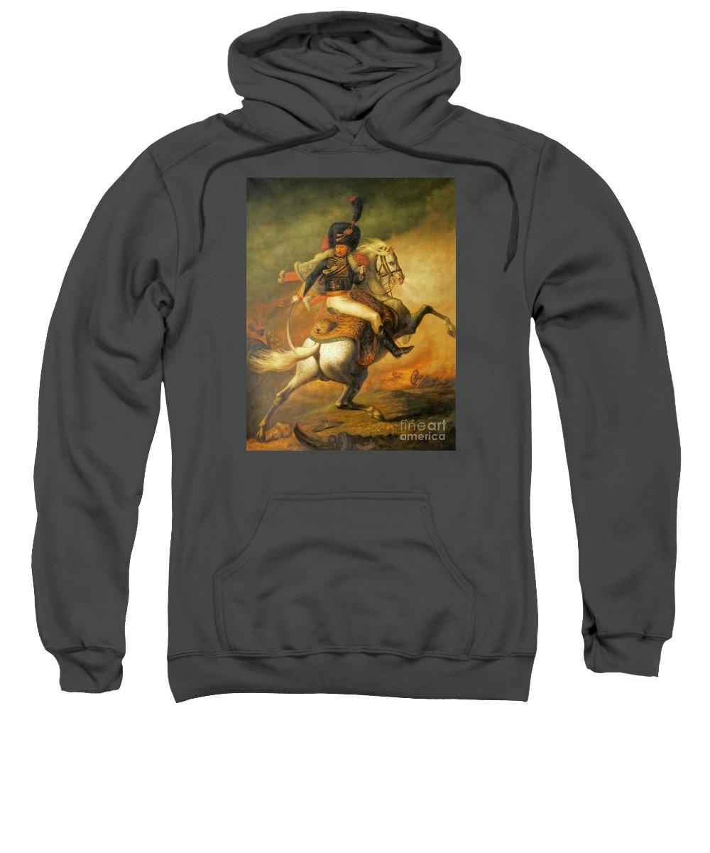 Art Sweatshirt featuring the painting Re Classic Oil Painting General On Canvas#16-2-5-08 by Hongtao   Huang
