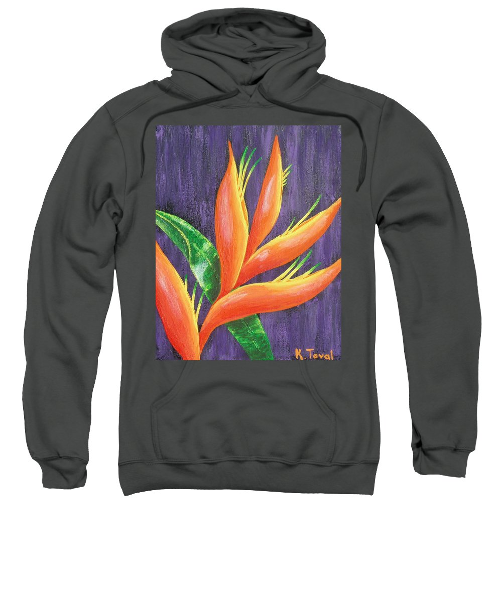 Flower Sweatshirt featuring the painting Reaching For The Sun by Kathleen Toval