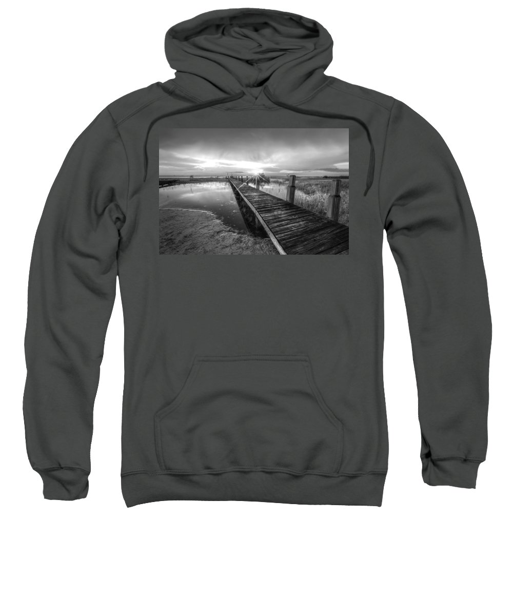 Clouds Sweatshirt featuring the photograph Reaching Into Sunset In Black And White by Debra and Dave Vanderlaan
