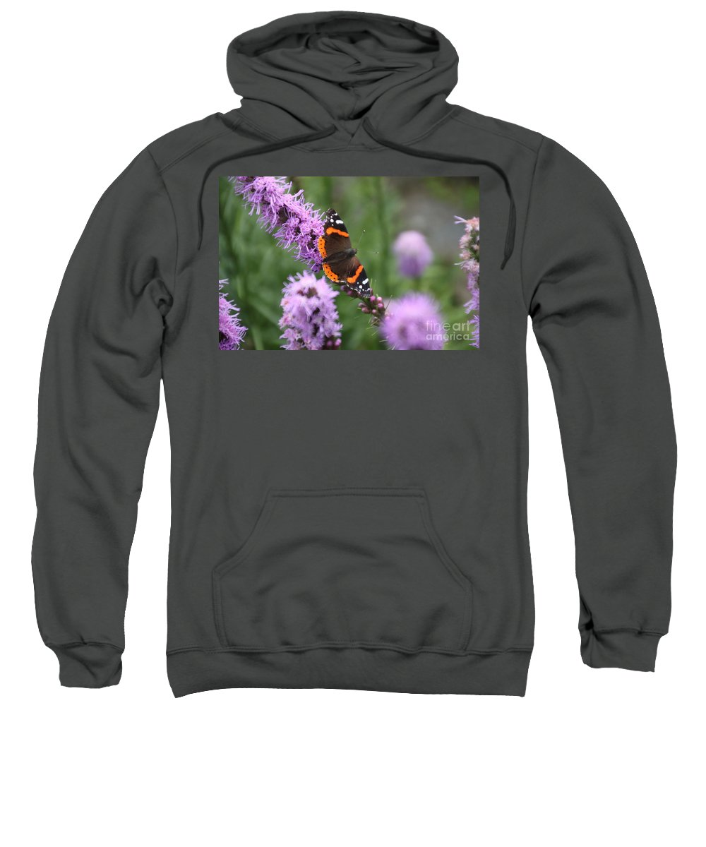 Orange Sweatshirt featuring the photograph Red Admiral Butterfly On A Blazing Star by Jennifer E Doll