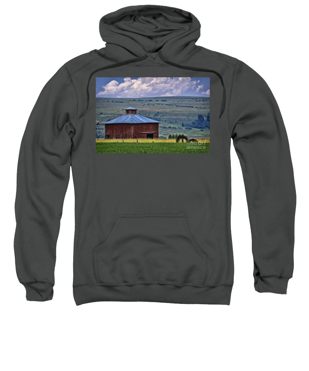 Barn Sweatshirt featuring the photograph Red Barn And Barbed Wire by Priscilla Burgers