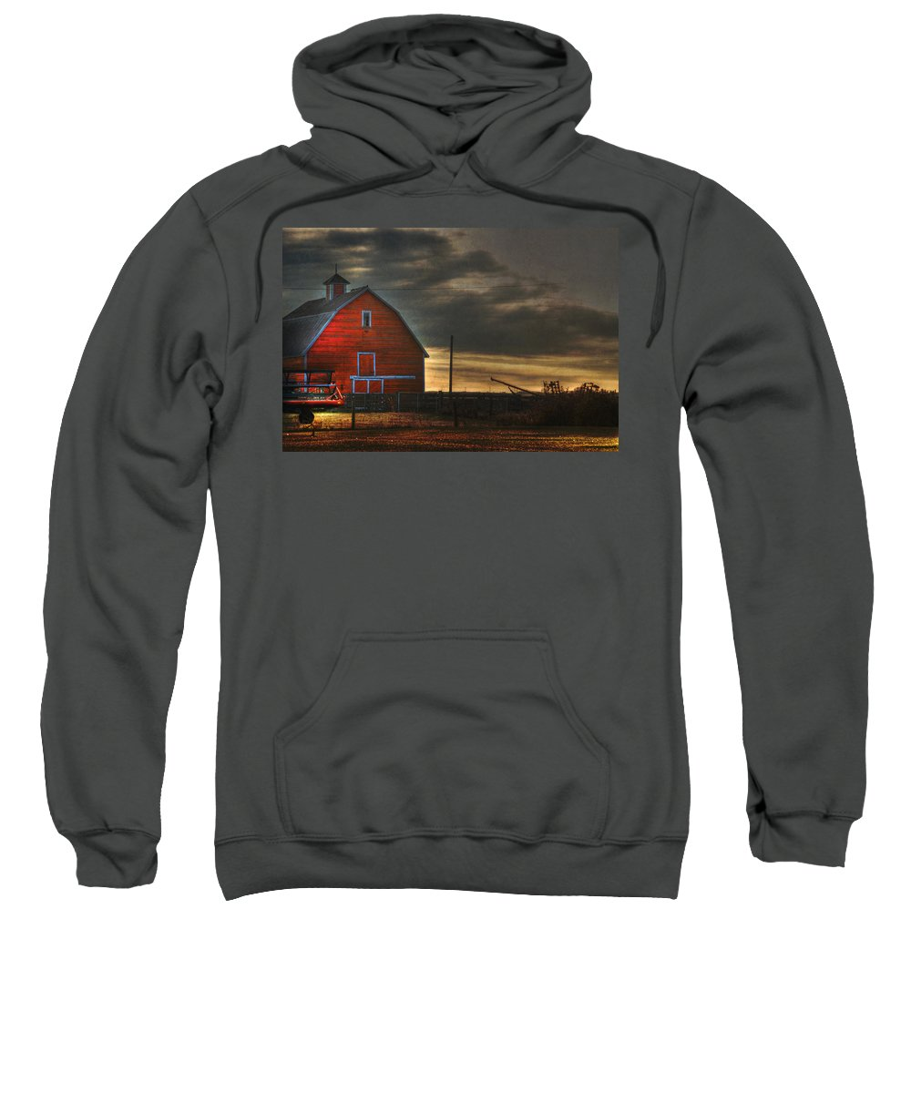 Red Barn Sweatshirt featuring the photograph Red Barn At Dawn by Lisa Knechtel