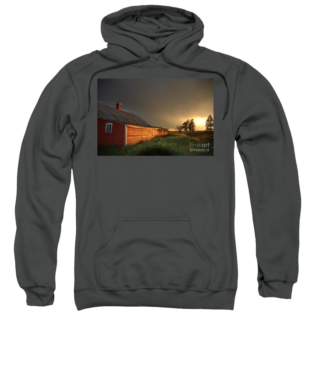 Barn Sweatshirt featuring the photograph Red Barn At Sundown by Jerry McElroy