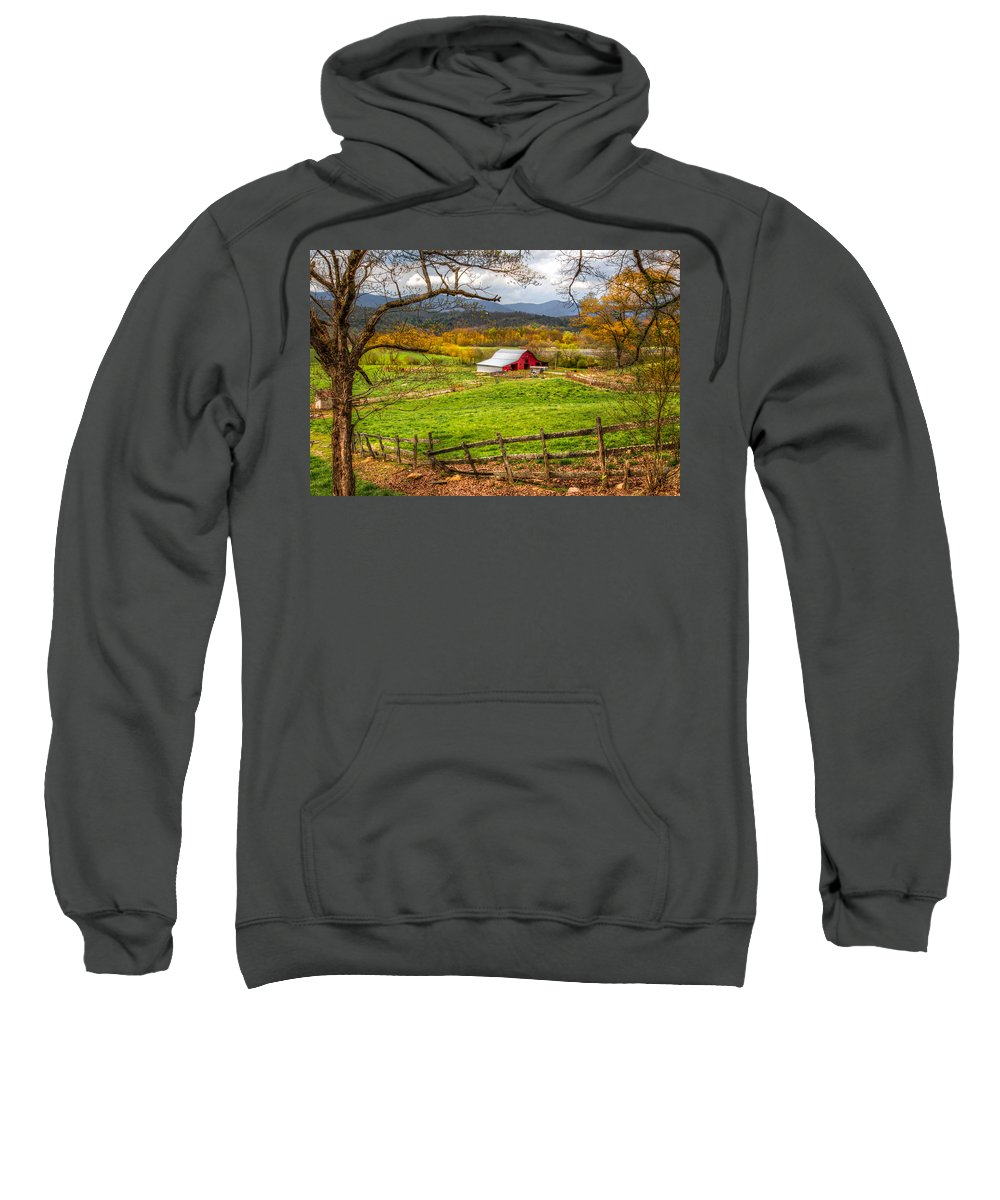 Andrews Sweatshirt featuring the photograph Red Barn by Debra and Dave Vanderlaan
