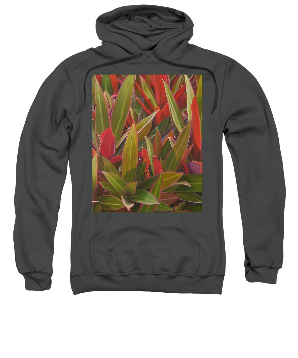 Plants Sweatshirt featuring the painting Red Green And Purple by Thu Nguyen