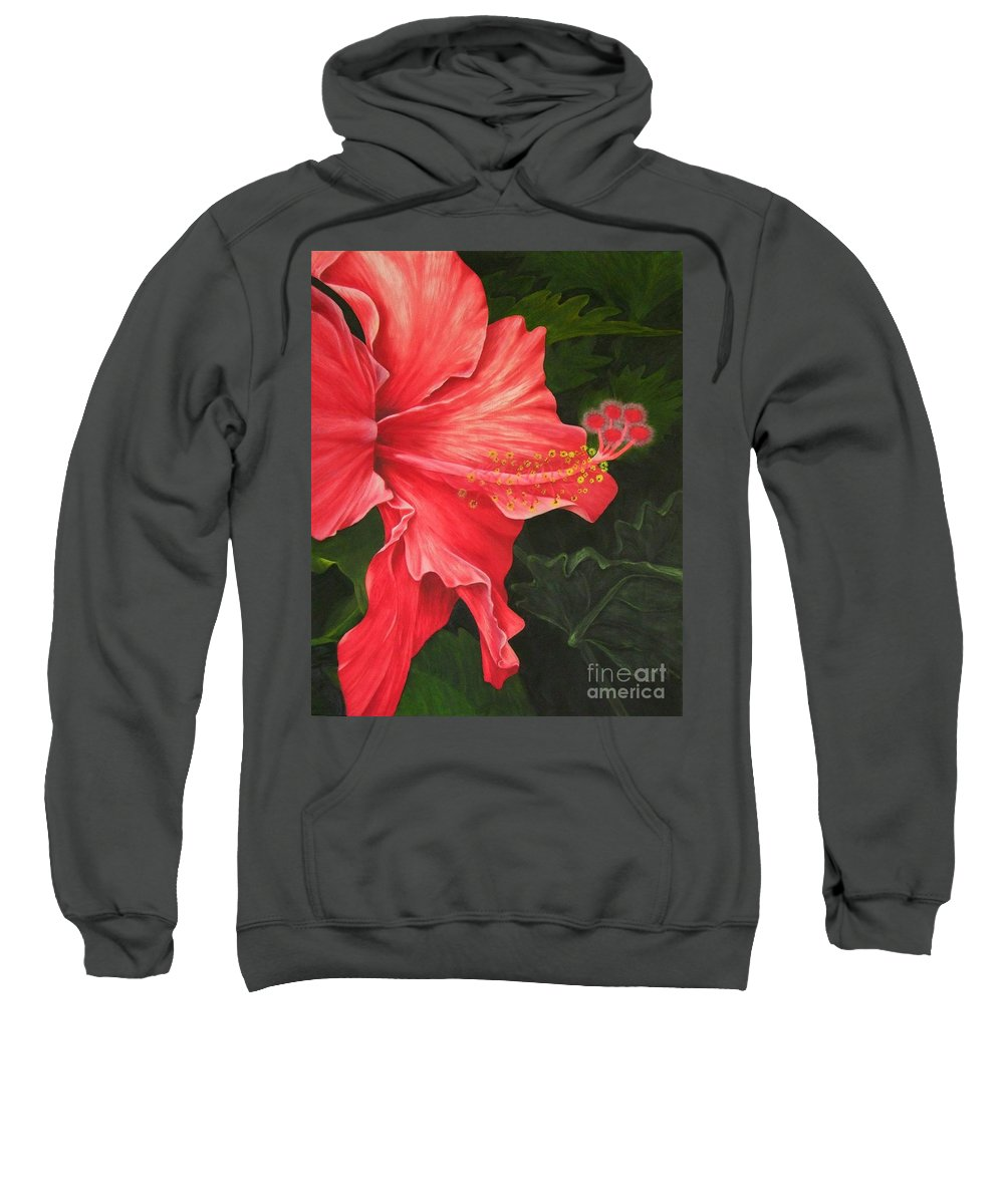 Red Flowers Sweatshirt featuring the painting Red Hibiscus by Mary Deal