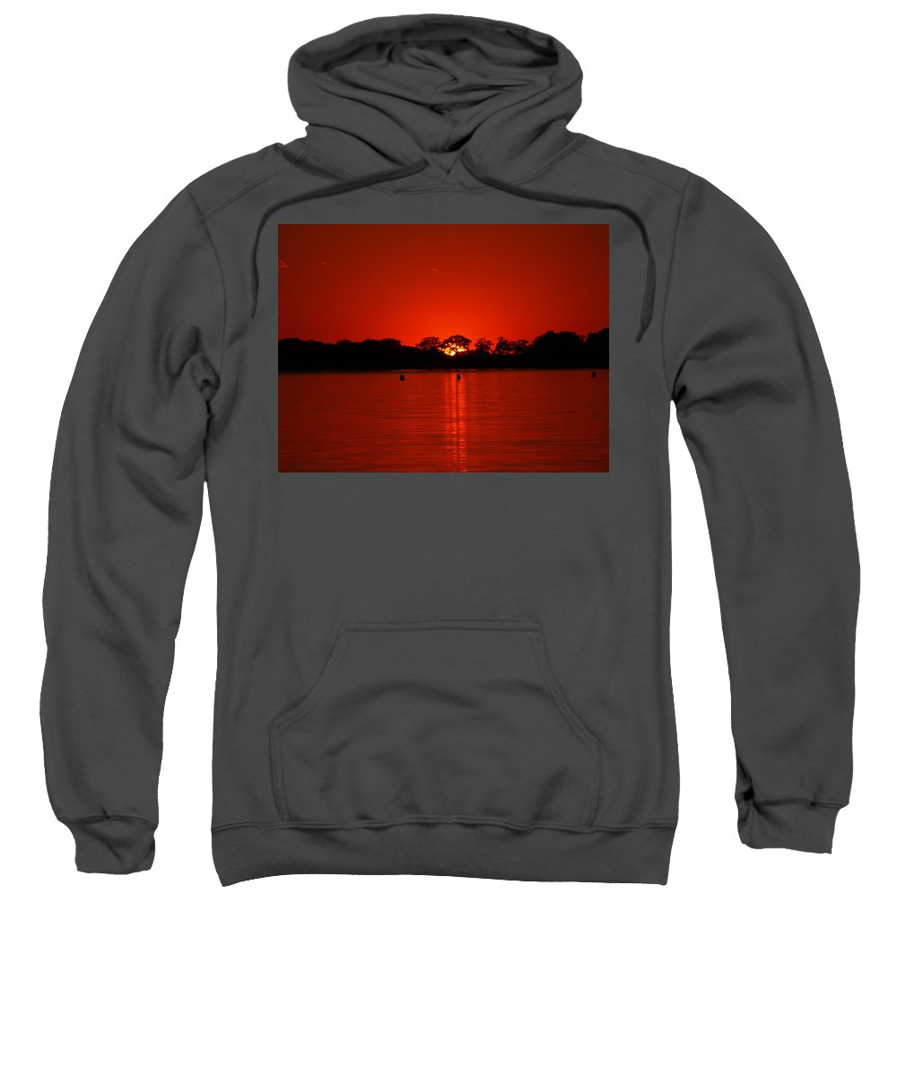 Peterson James Nature Sunset Sunsets Seascapes Seascape Landscape Landscapes Blood Cherry Ruby Scarlet Magenta Red Crimson Wine Colored Orange Reflection Reflections Minnesota Lakes Home Dr Cabin Vacation Sun Silhouette Silhouettes Lake Charlotte Water Waterscape Waterscapes Sky Skies Sailor's Delight Sailor Sailors Nautical Evening Horizon Sunshine Sunlight Weather Dramatic Scenic Peaceful Majestic Ablaze Blazing Blaze Fire Vibrant Vivid Brilliant Romantic Glowing Sold Aglow Glowing Sweatshirt featuring the photograph Red by James Peterson