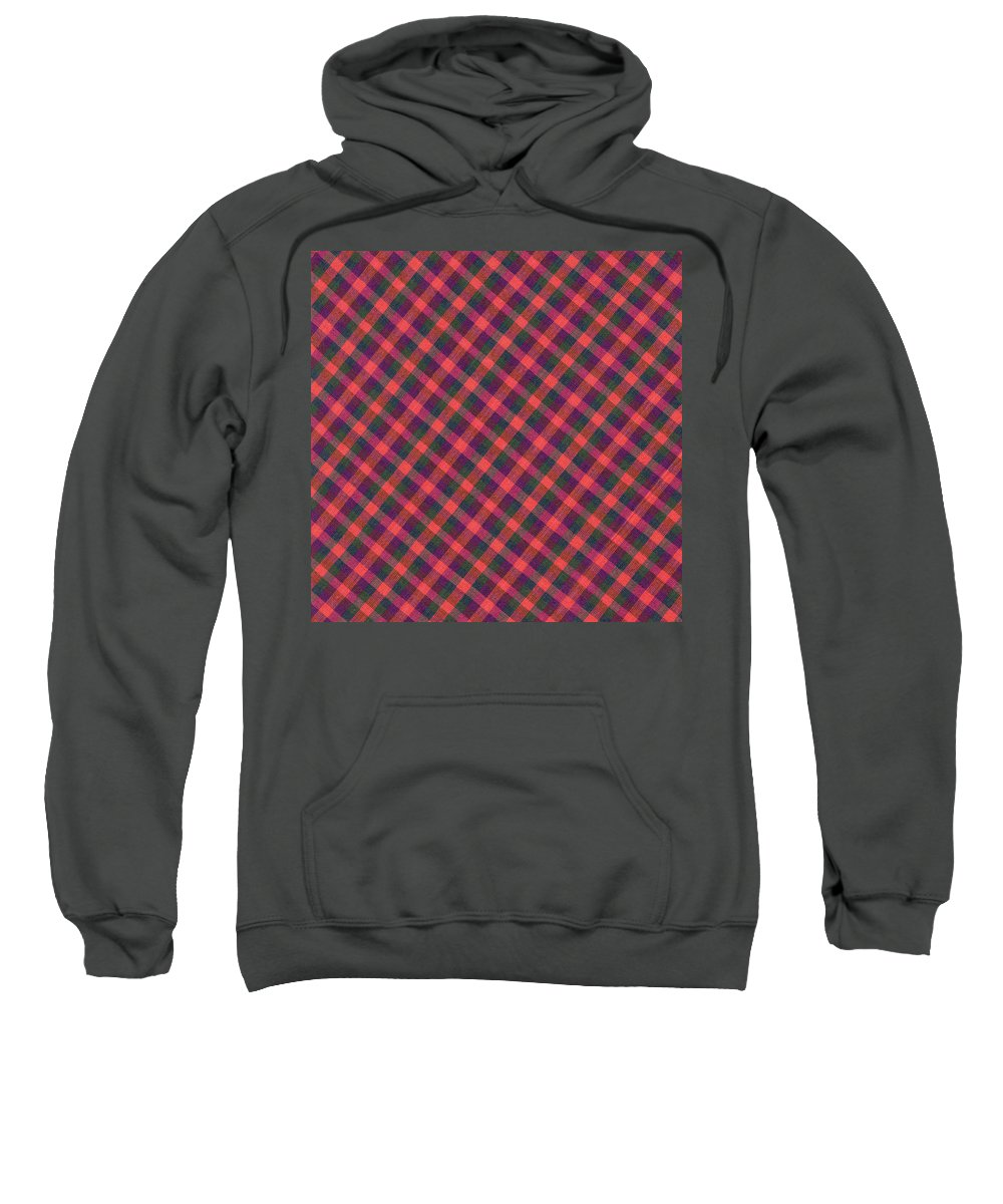 Plaid Fabric Sweatshirt featuring the photograph Red Purple And Green Diagonal Plaid Textile Background by Keith Webber Jr