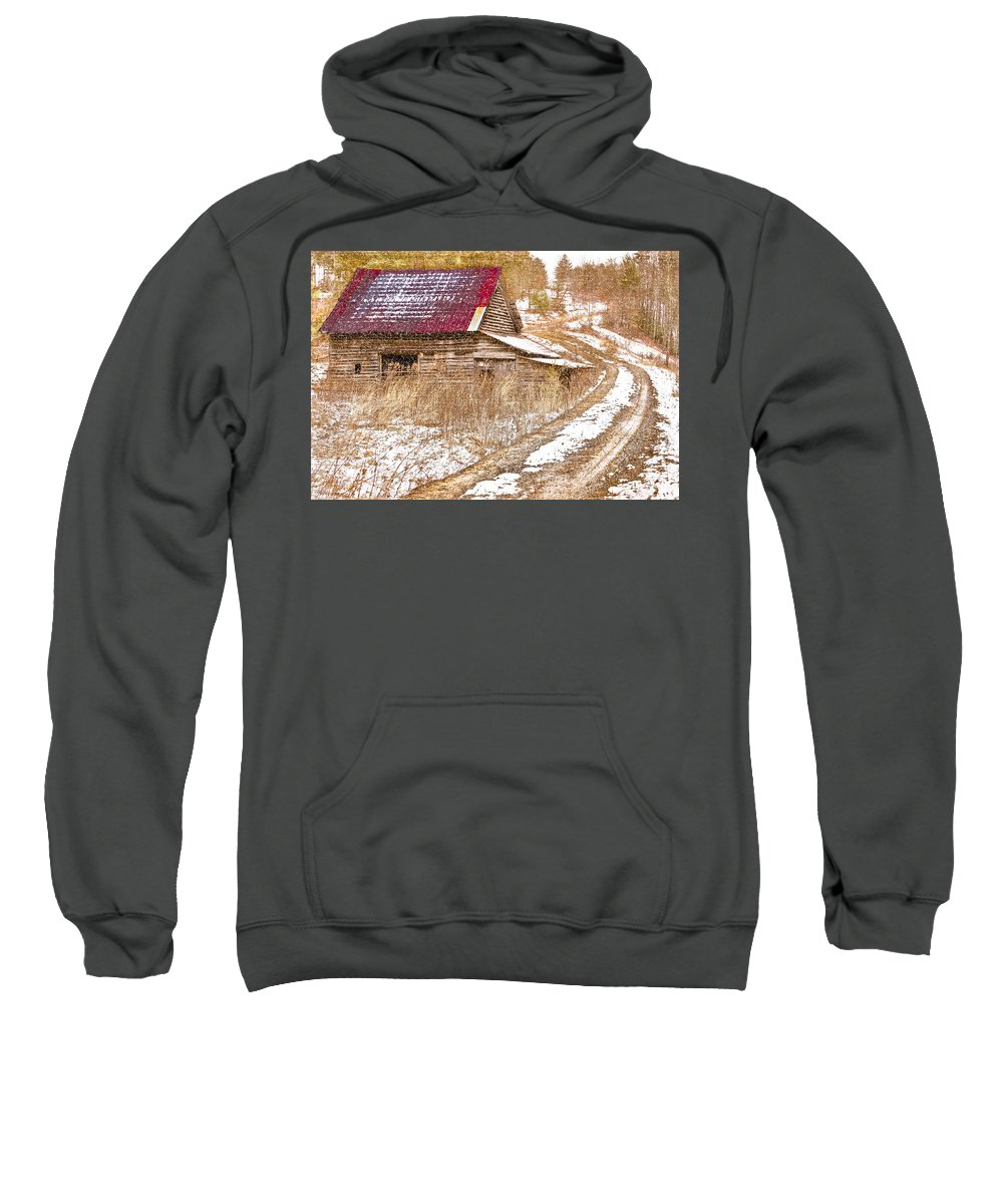 American Sweatshirt featuring the photograph Red Roof In The Snow by Debra and Dave Vanderlaan
