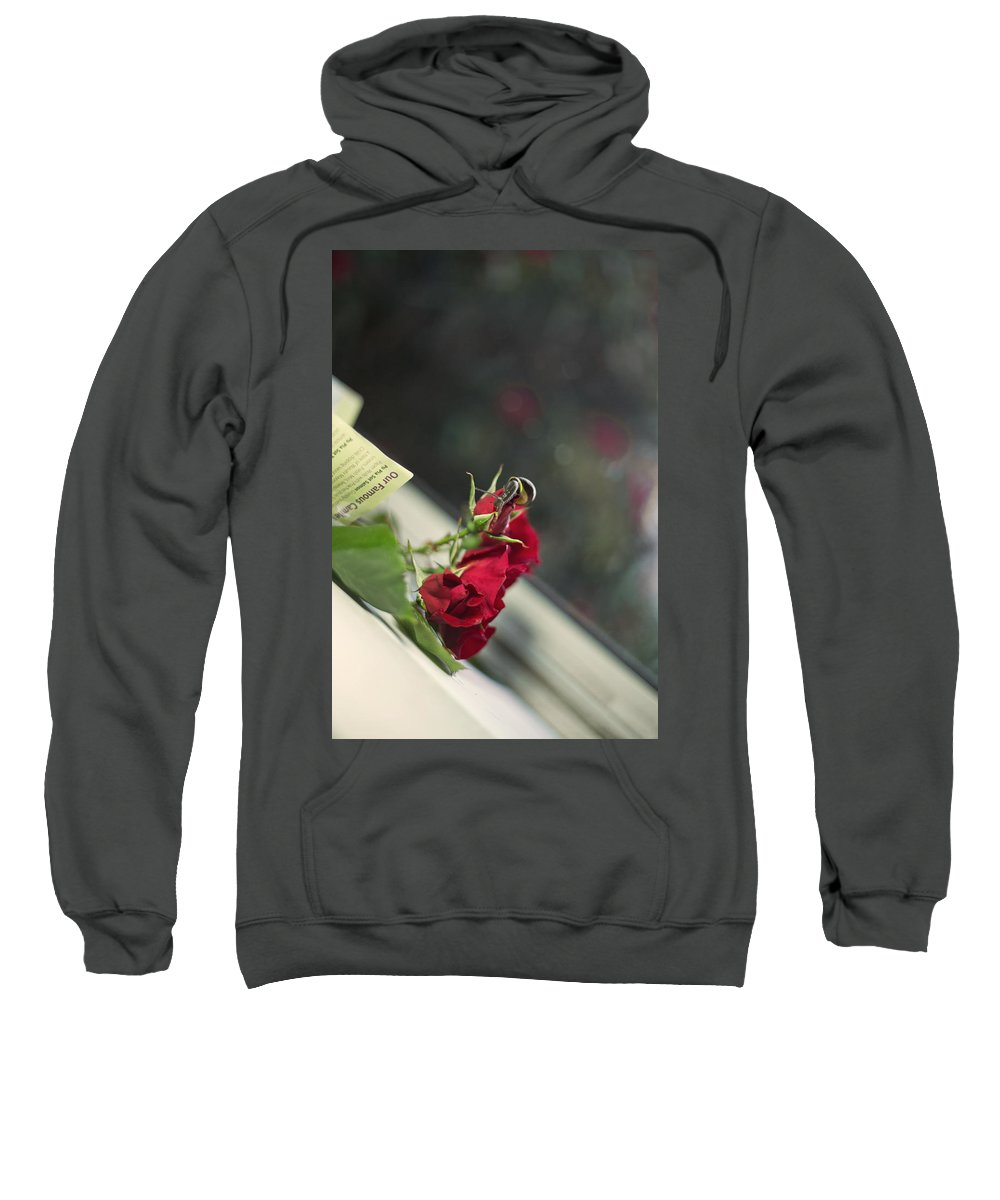 Red Roses Sweatshirt featuring the painting Red Roses And Visitor by Alex Art and Photo