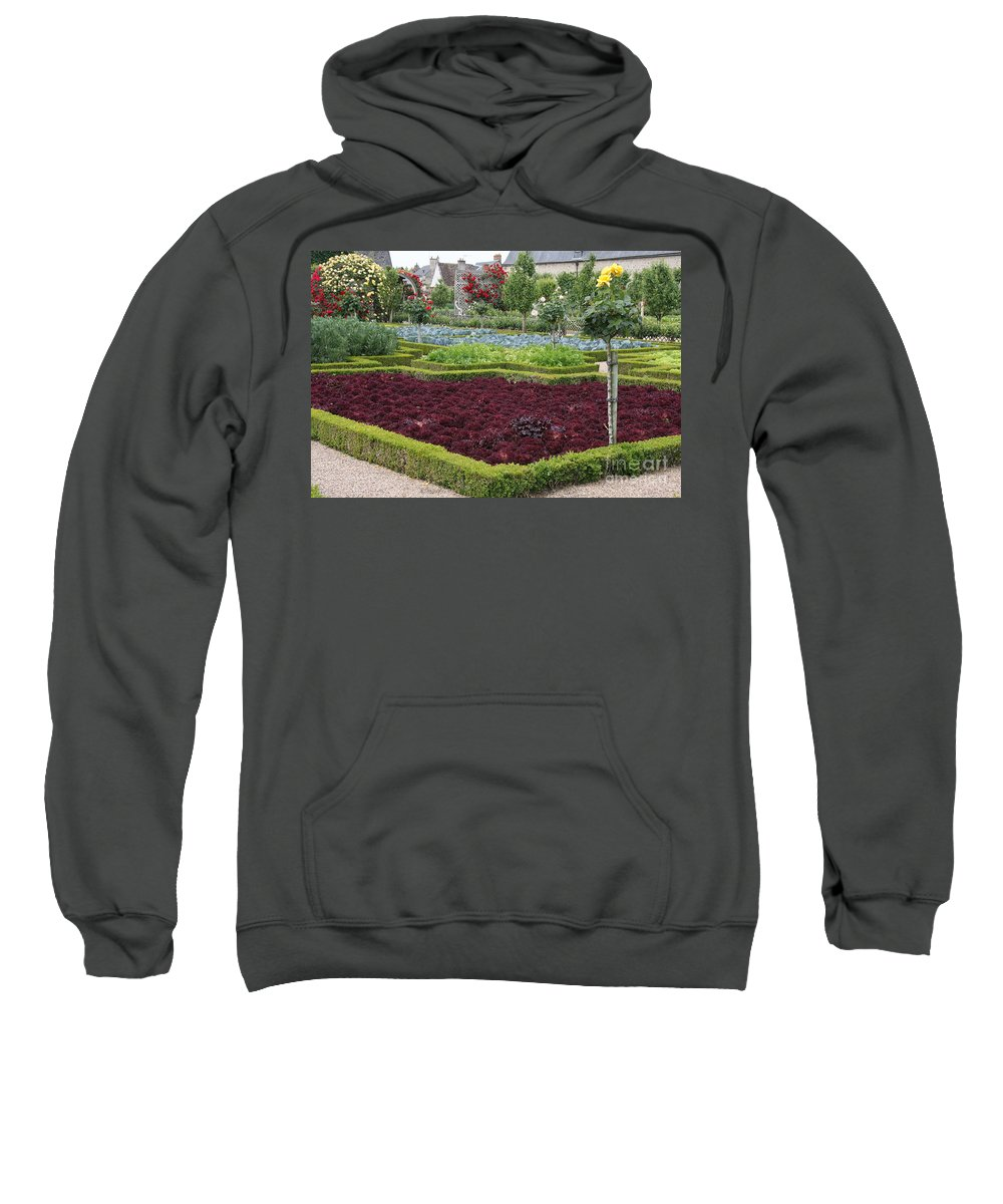 Salad Sweatshirt featuring the photograph Red Salad And Roses - Chateau Villandry Garden by Christiane Schulze Art And Photography