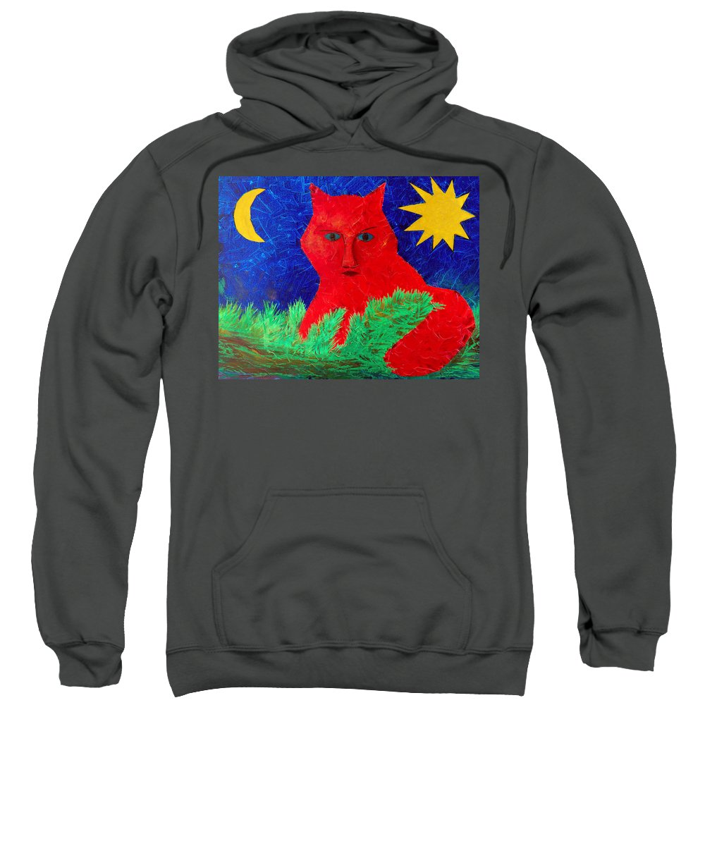 Fantasy Sweatshirt featuring the painting Red by Sergey Bezhinets